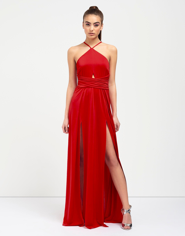 Cut out halter neck maxi dress