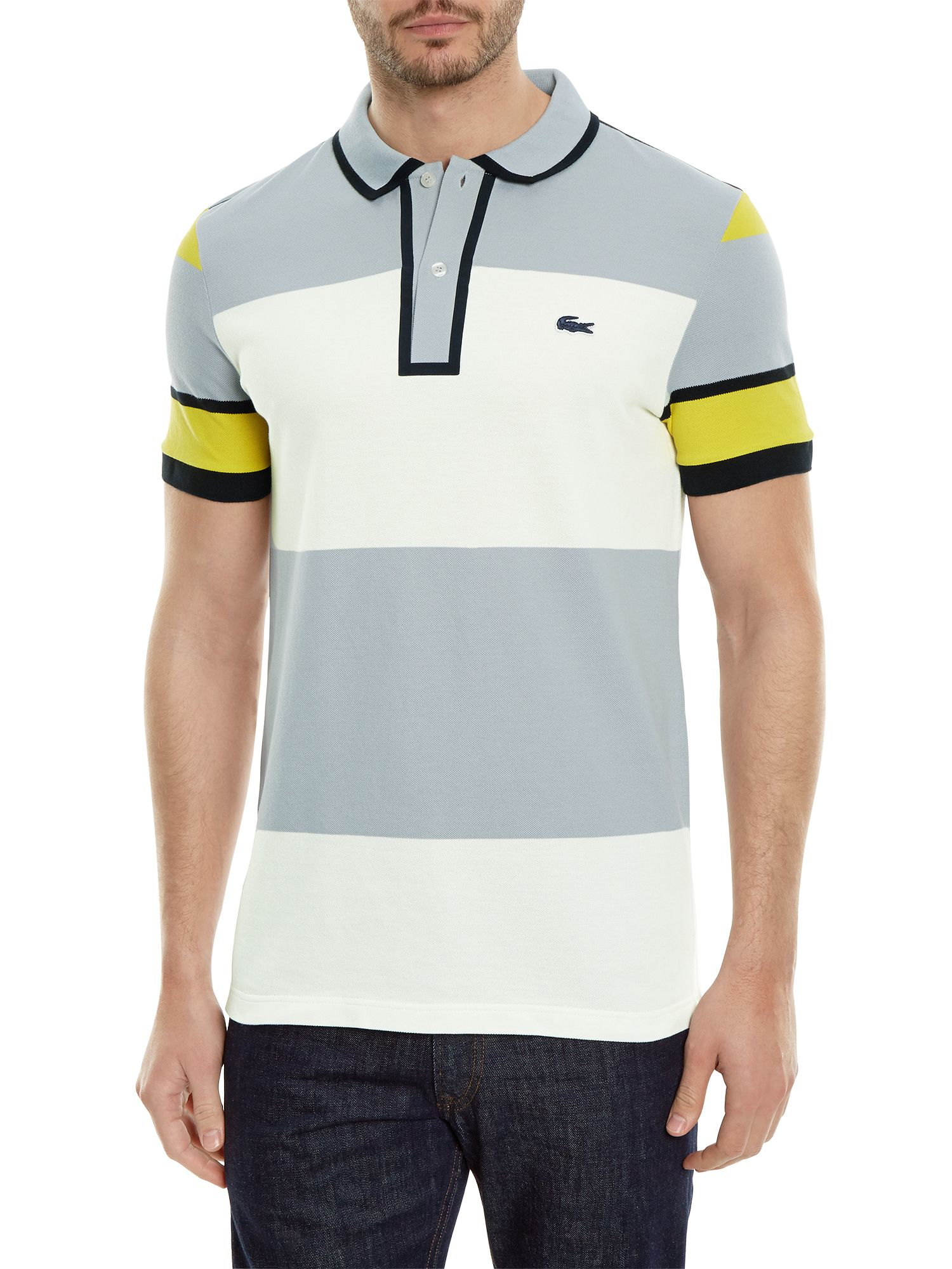 lacoste made in france striped piqu polo in gray for men lyst. Black Bedroom Furniture Sets. Home Design Ideas