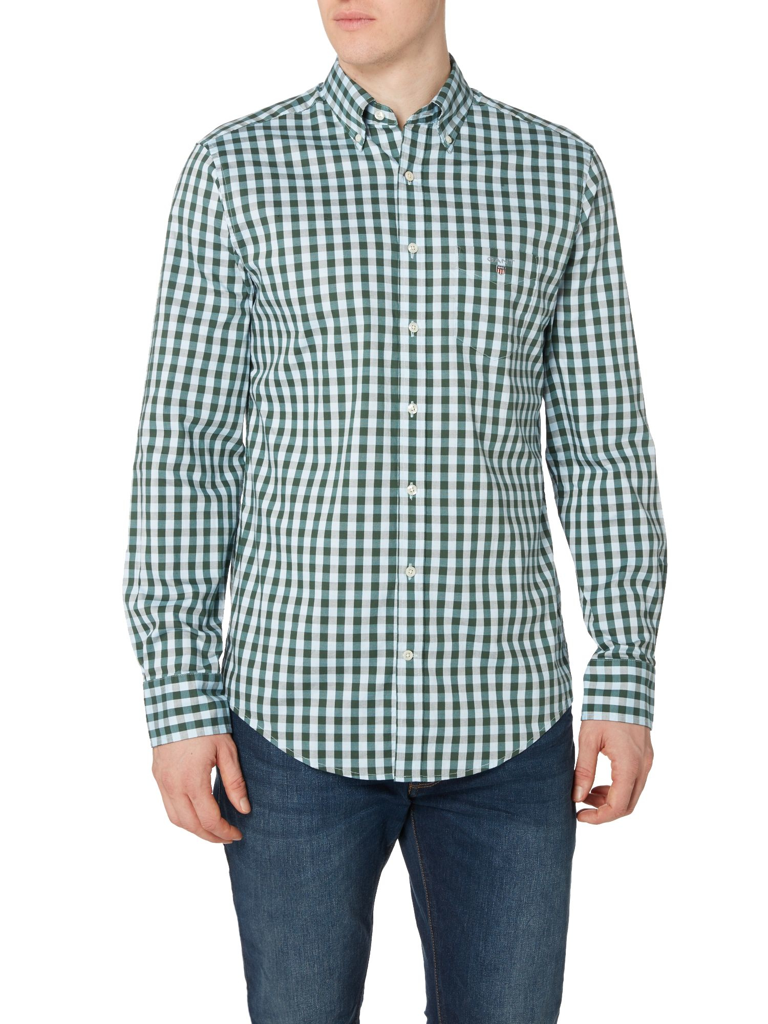 Lyst gant gingham long sleeve oxford shirt in green for men for Mens green gingham dress shirt