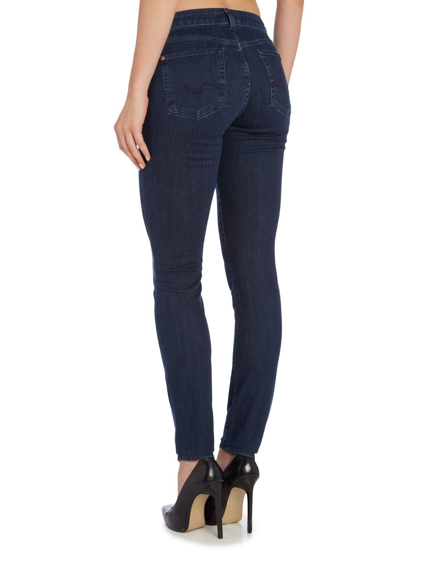 7 for all mankind cristen mid rise skinny jean in blue. Black Bedroom Furniture Sets. Home Design Ideas