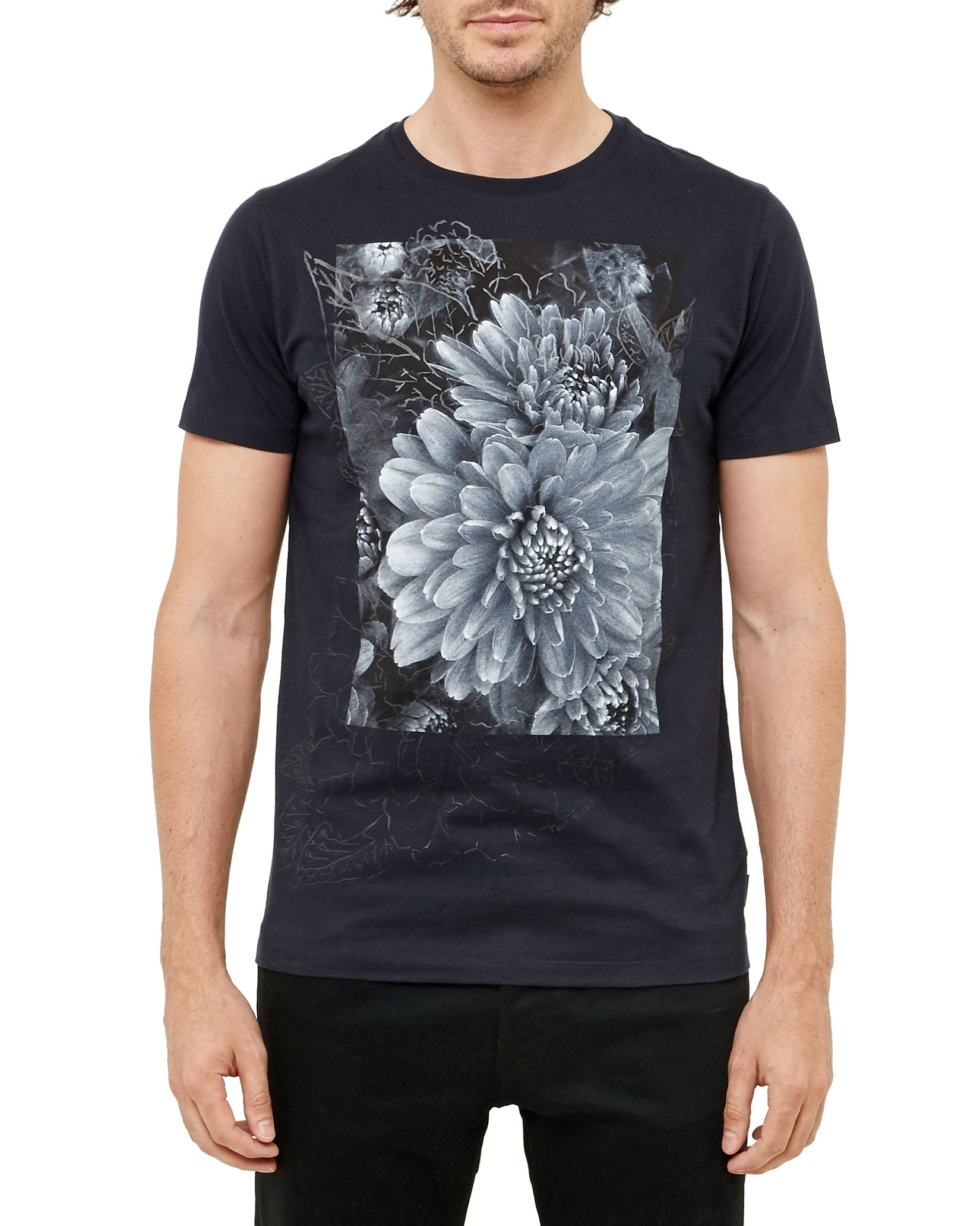 Ted baker malvol floral graphic cotton t shirt in blue for for Ted baker floral shirt