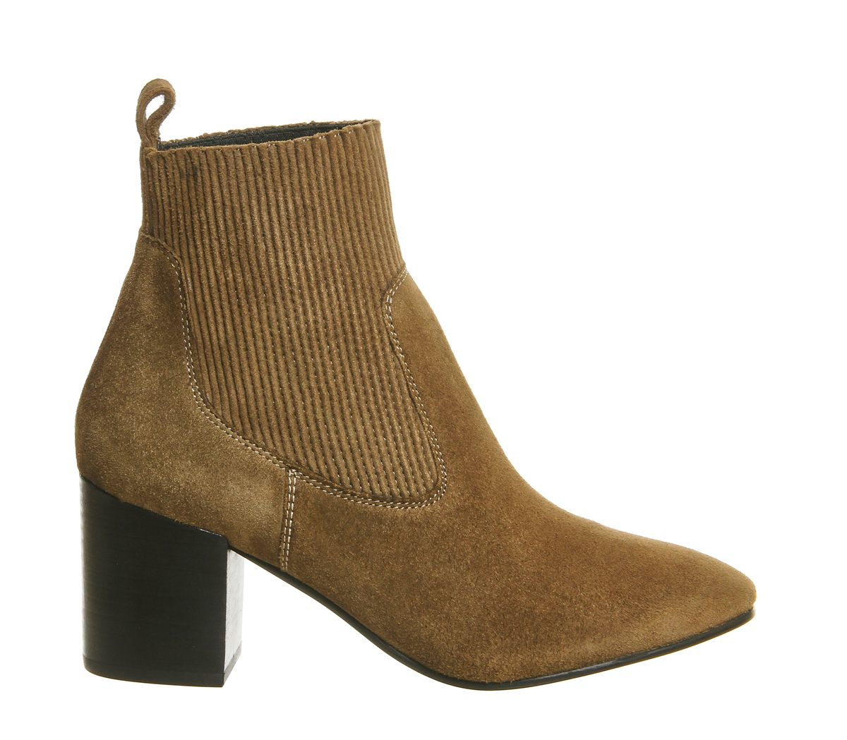 office lashes block heel chelsea boots in brown khaki lyst