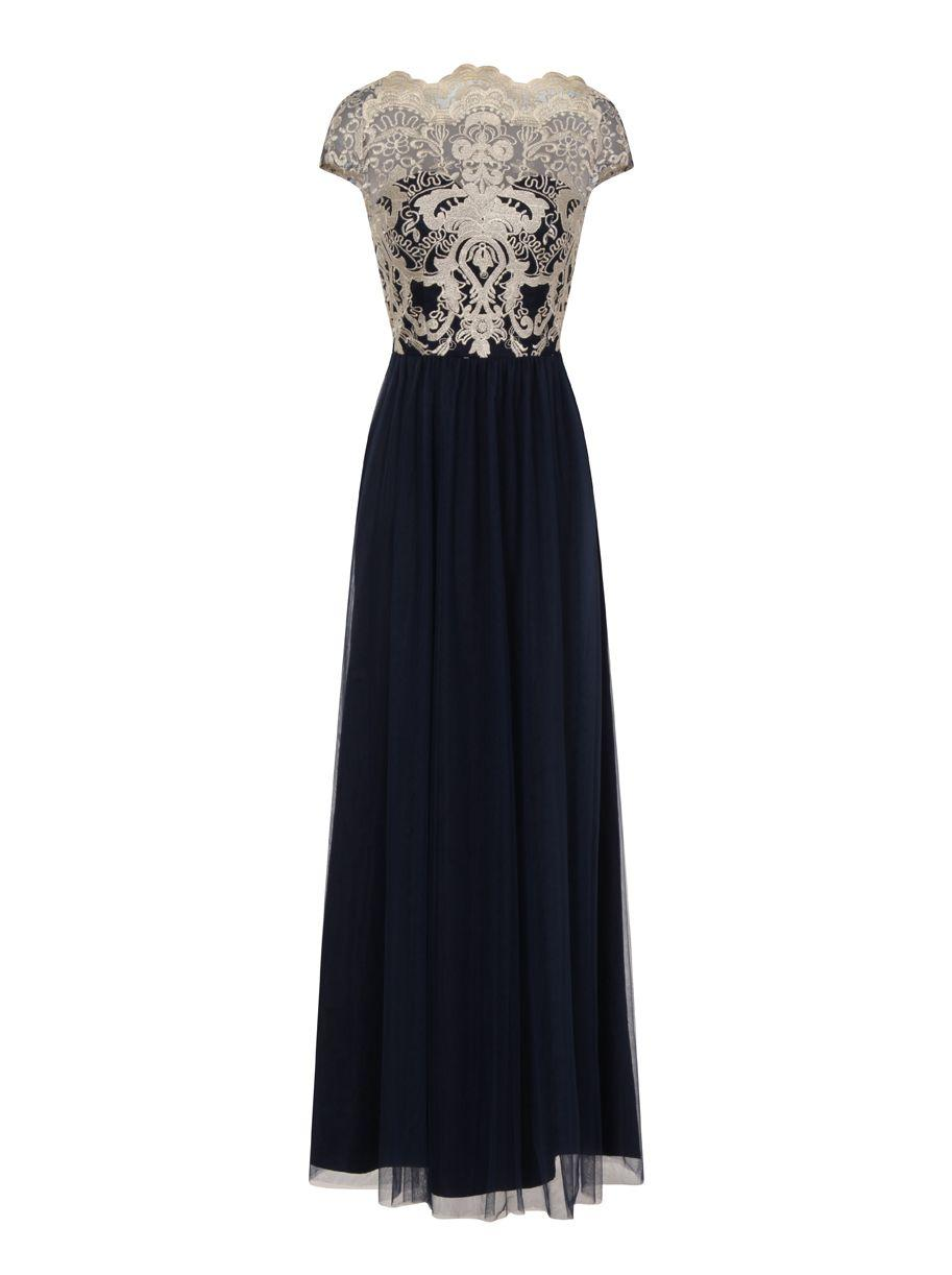 Lyst chi london embroidered lace maxi dress in blue