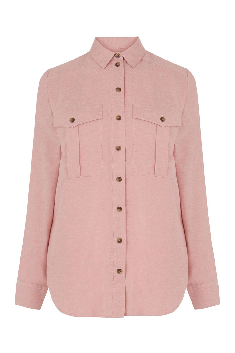 Warehouse Relaxed Pocket Detail Shirt In Pink Lyst
