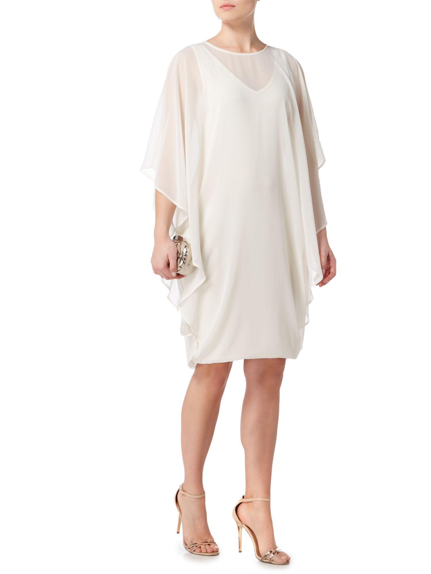 Lyst Biba Chiffon Overlay Volume Dress In White