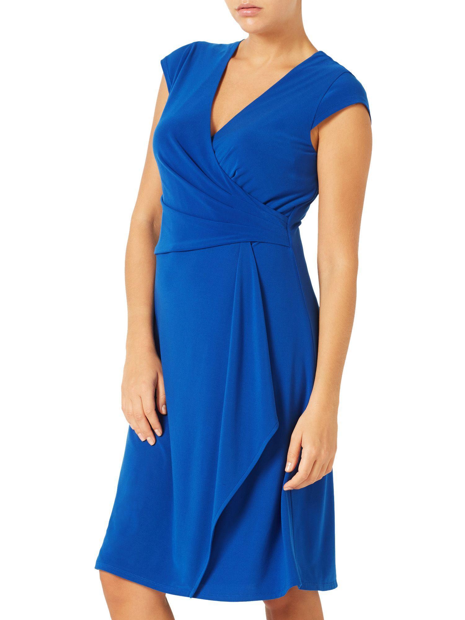 Lyst jacques vert waterfall detail jersey dress in blue for Waterfall design dress
