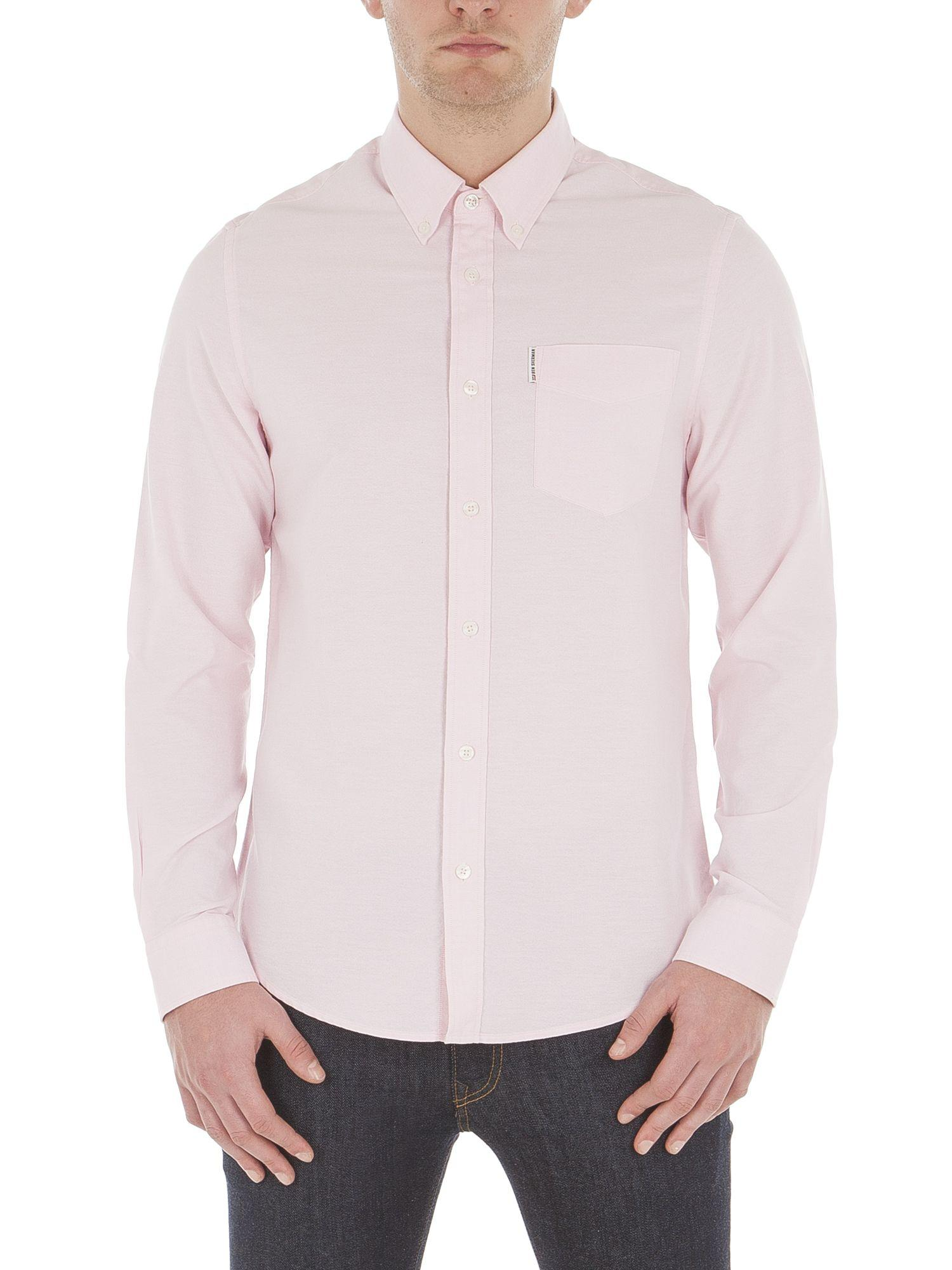 Lyst ben sherman long sleeve classic oxford in pink for men for Quality classic house of fraser
