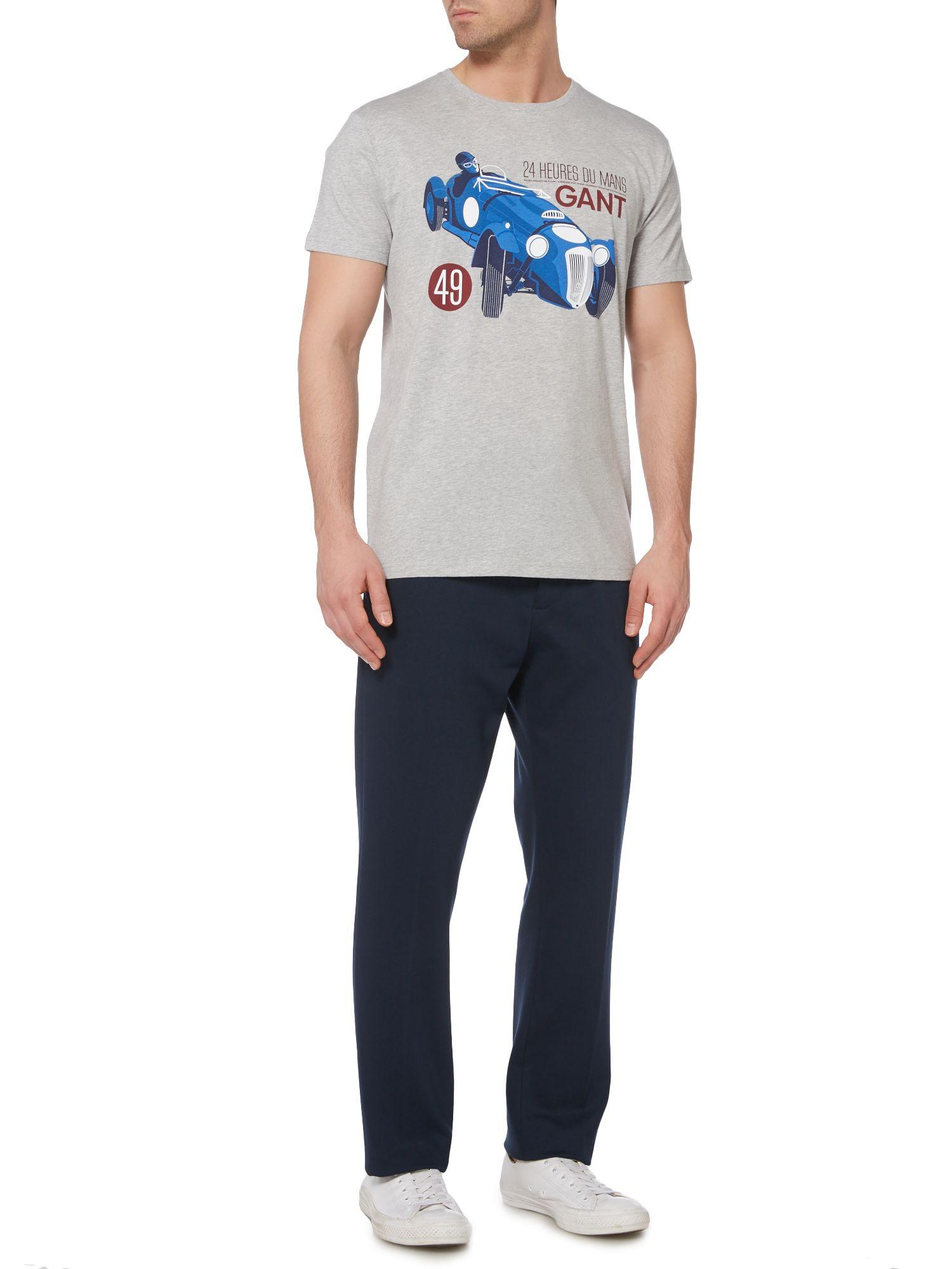 lyst gant le mans car print t shirt in gray for men. Black Bedroom Furniture Sets. Home Design Ideas