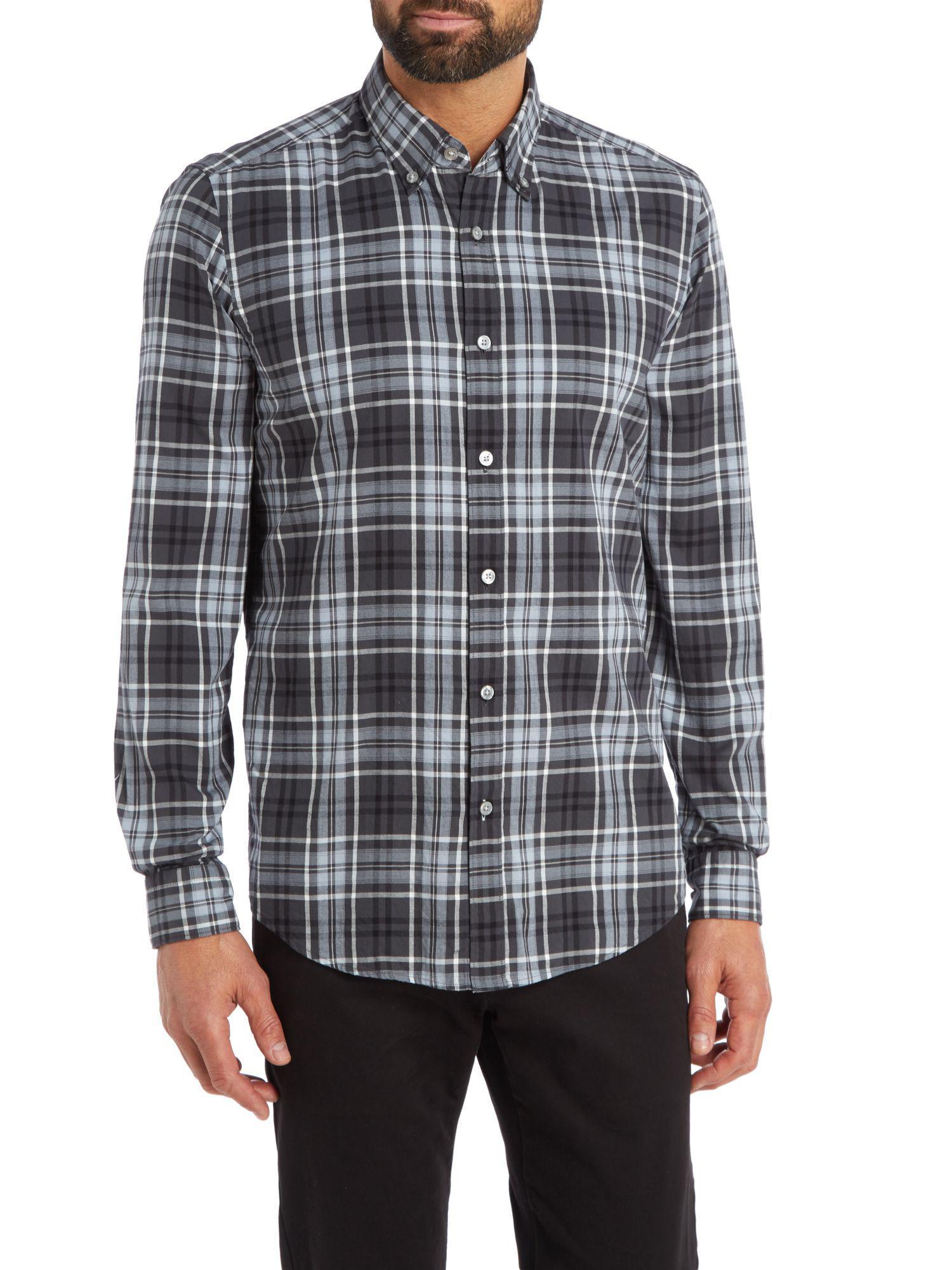 615d5530e Boss Men's Lod 41 Regular Fit Large Check Shirt in Gray for Men - Lyst