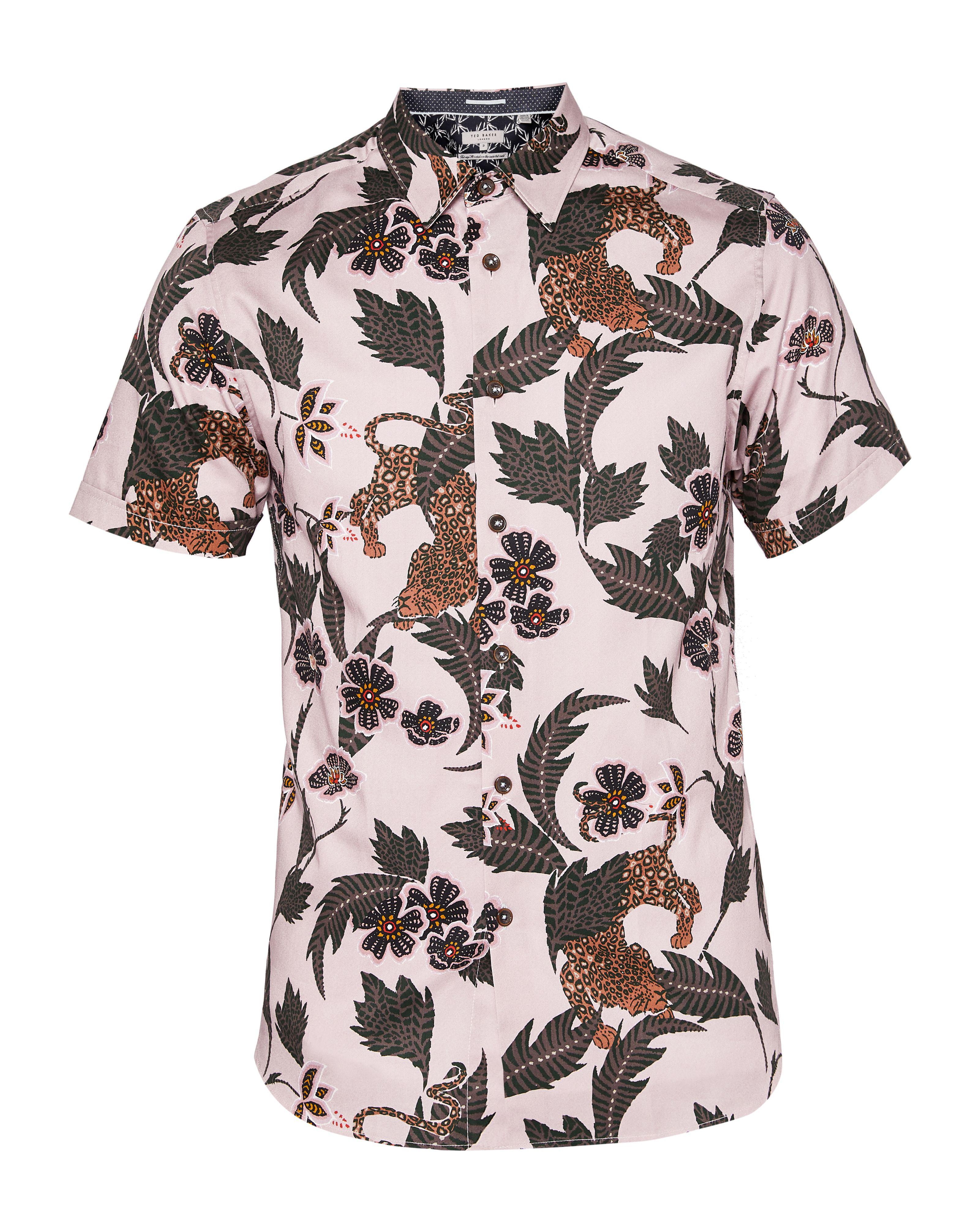 9b7983f4ac39 Ted Baker - Pink Men's Lepord Ss Leopard Print Shirt for Men - Lyst. View  fullscreen