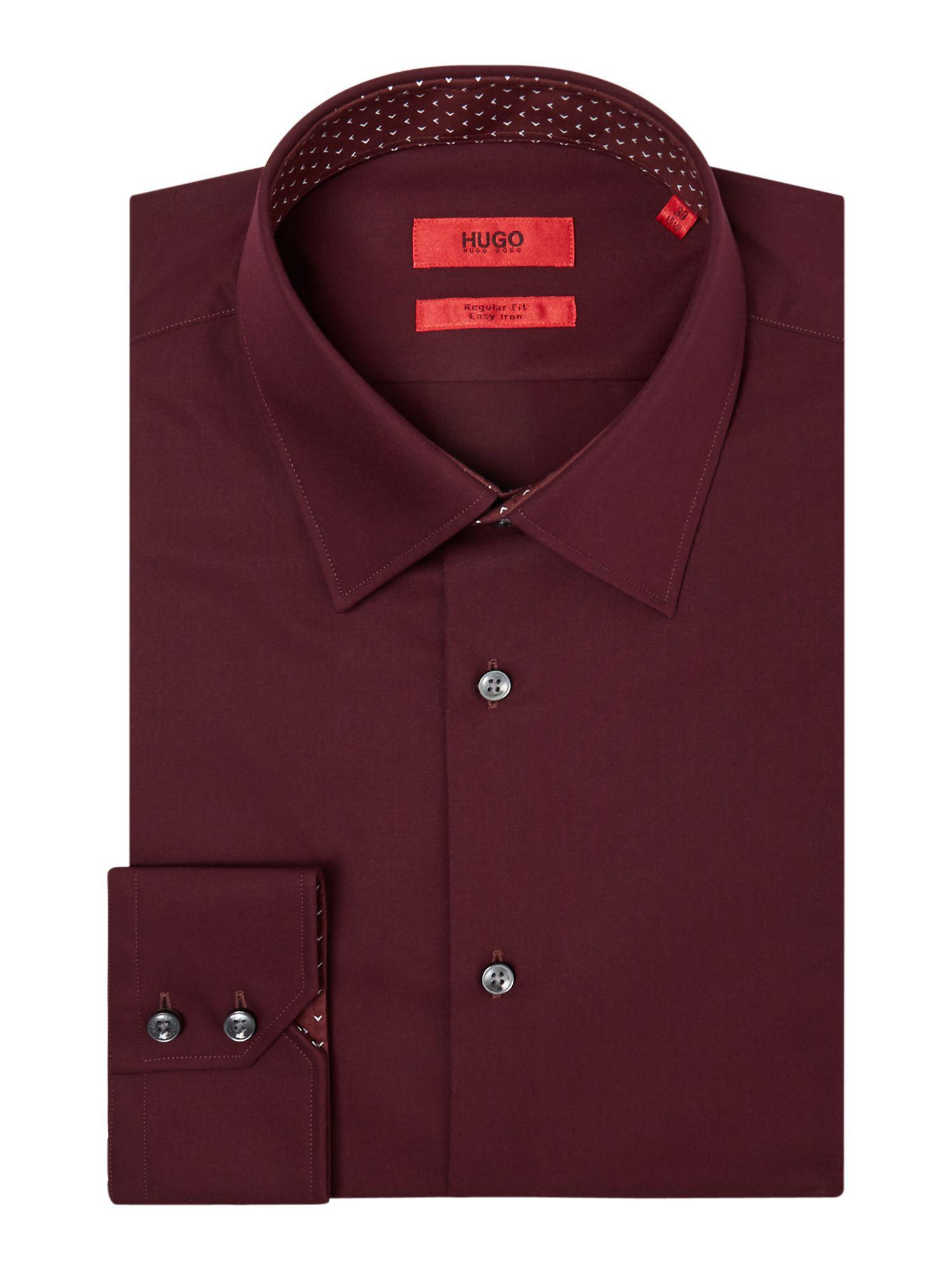 bf49f342a Hugo Men's Elwin Regular Fit Poplin Contrast Collar Shirt in Red for ...