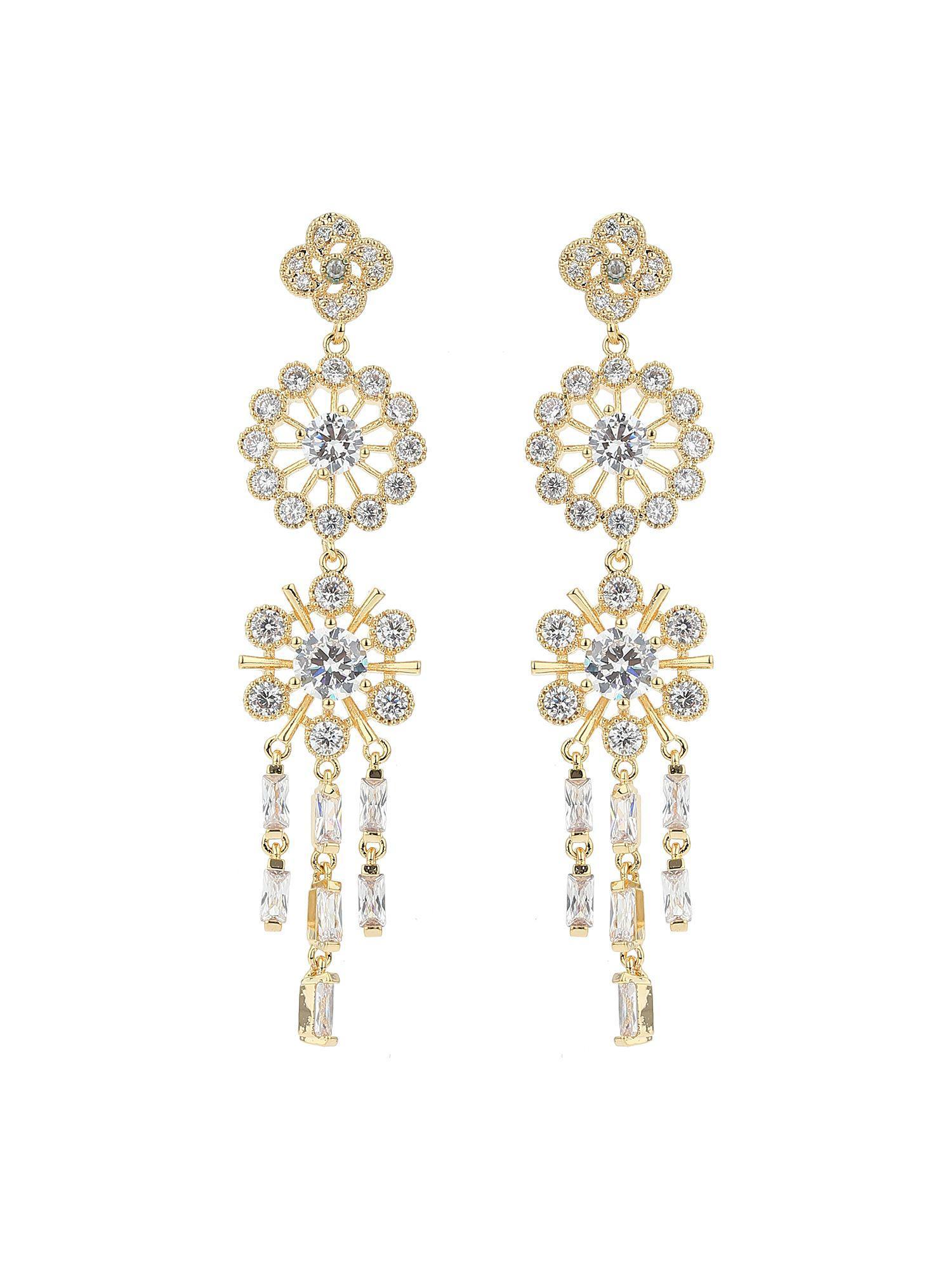Mikey double daisy flower cubic drop earring in metallic lyst mikey womens metallic double daisy flower izmirmasajfo