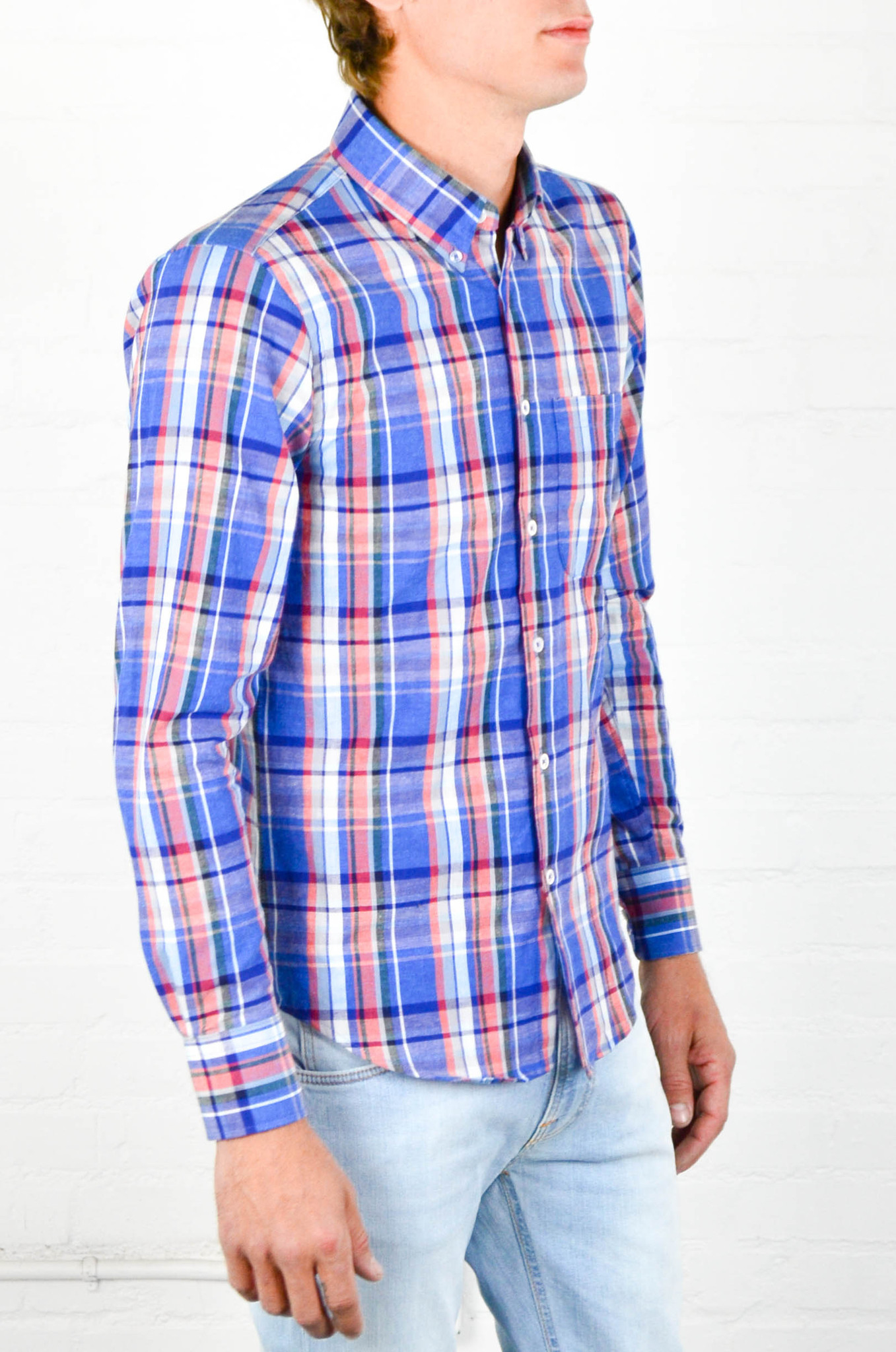 Naked  Famous Airy Cotton And Linen Blend Madras Regularshirt For Men  Lyst-9107