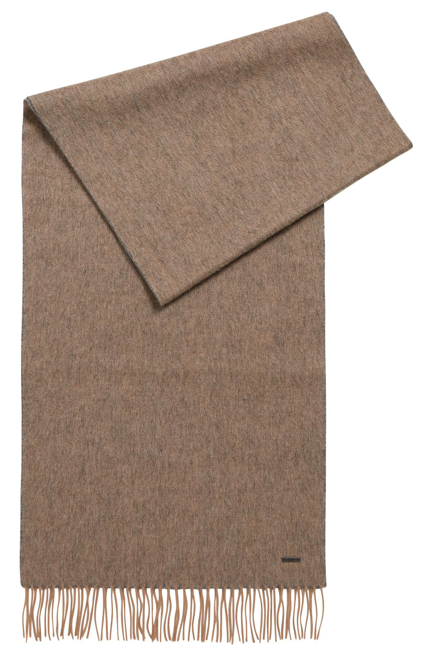 Lyst - BOSS Melange-effect Wool Scarf in Natural ec342bf4a0a