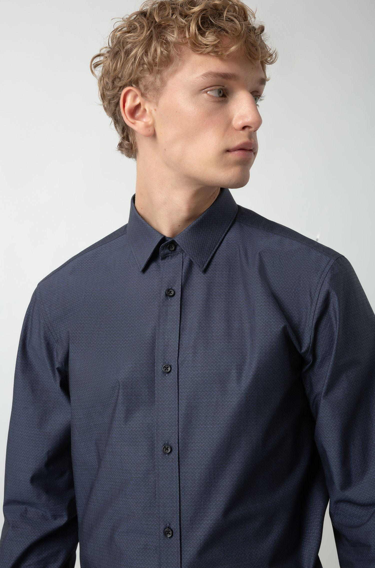 fb7e34afe HUGO - Blue Extra-slim-fit Cotton Shirt With All-over Structure for. View  fullscreen