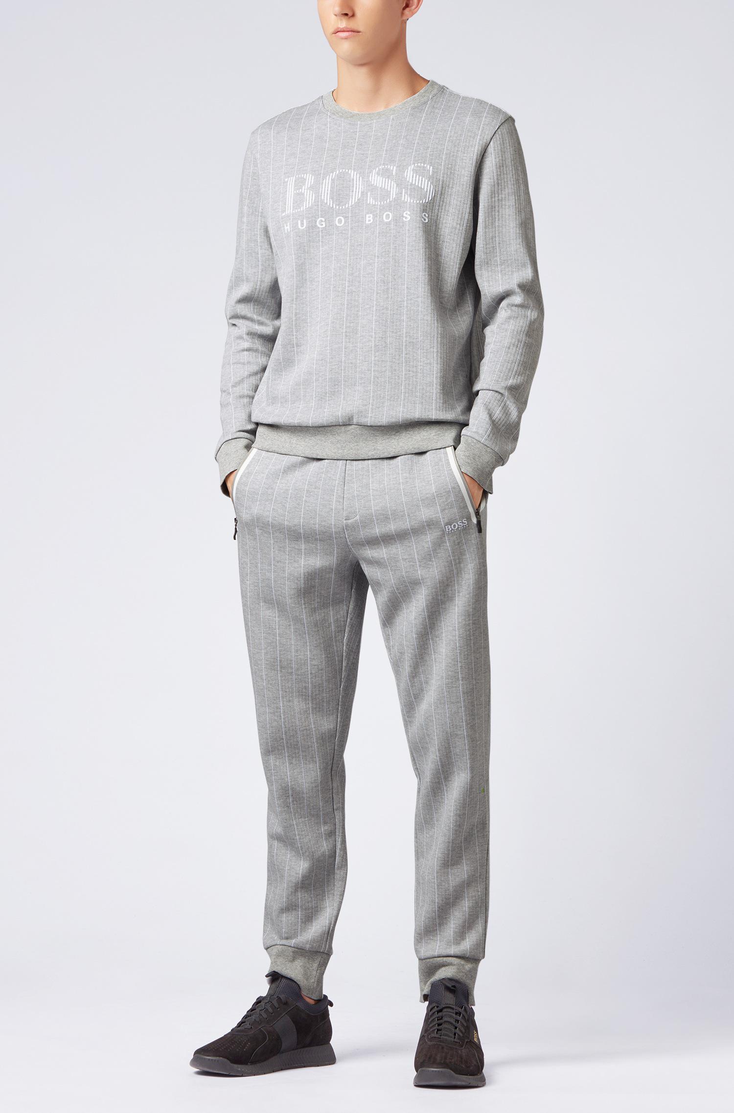 ba1d55b1ae3a BOSS Slim-fit Sweatshirt With Flock-print Logo And Pinstripe in Gray ...