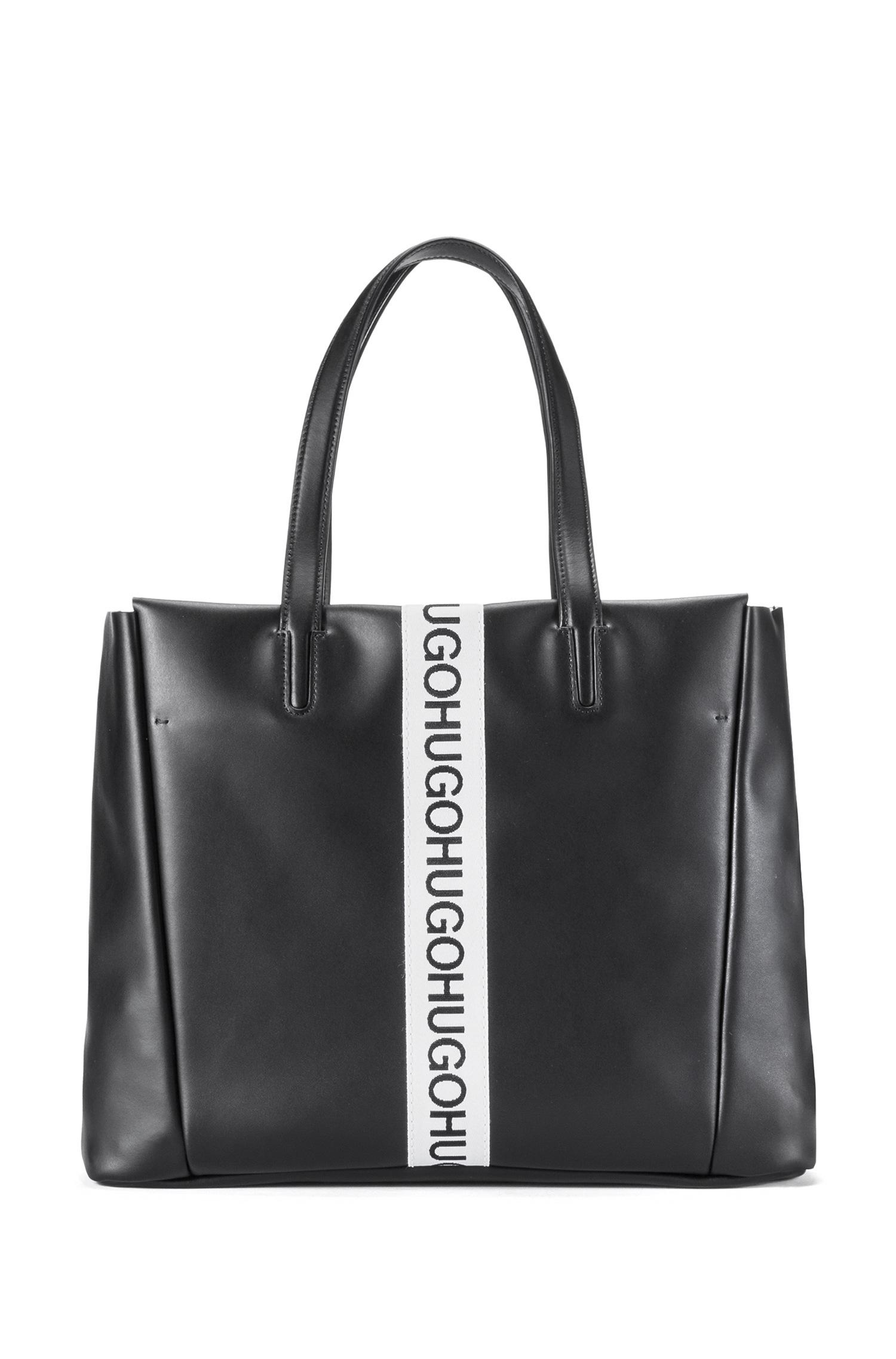 Tote bag in coated leather with embossed logo HUGO BOSS iXFSxAx