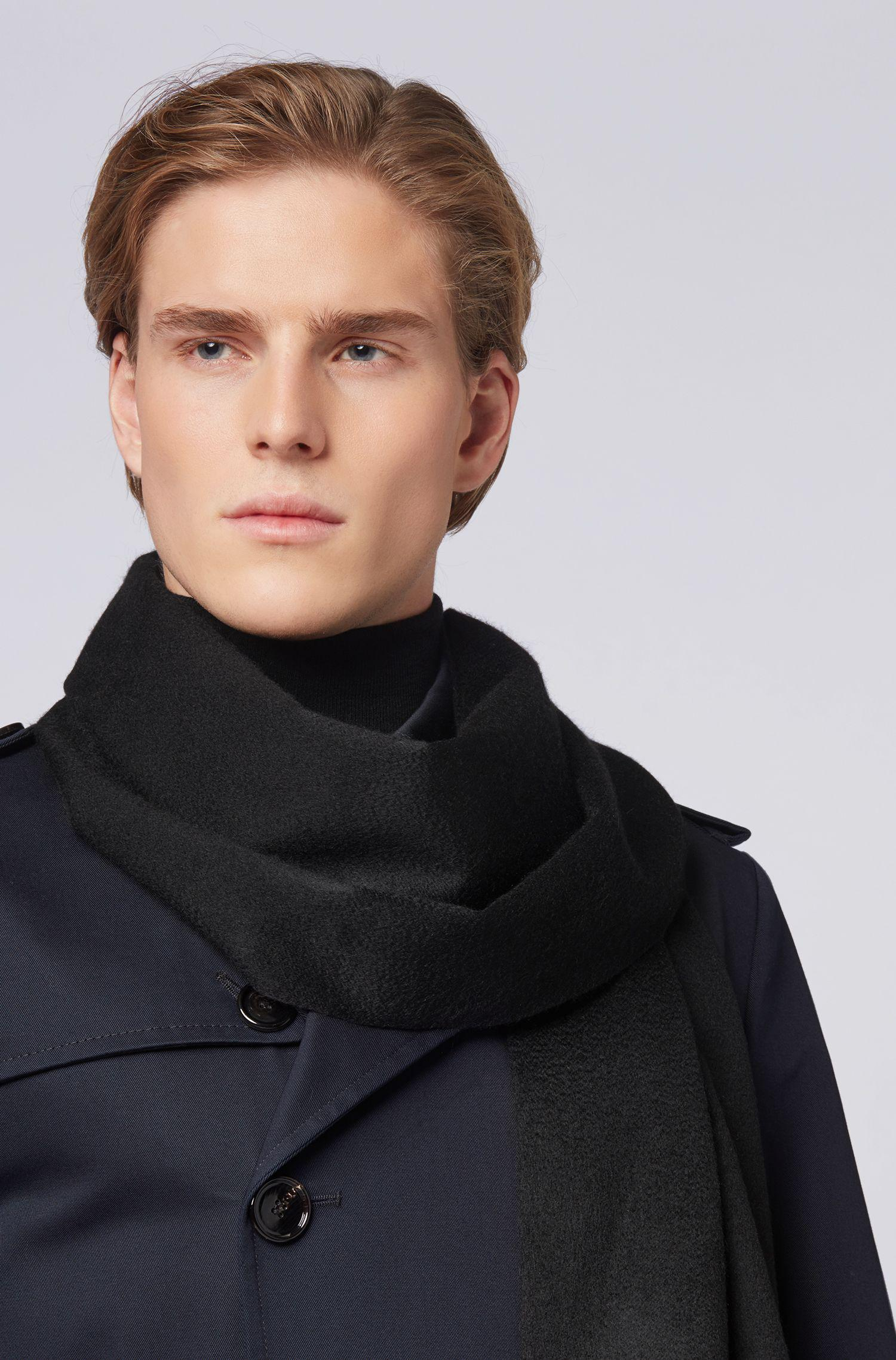 Lyst - BOSS Tailored Italian-made Scarf In Cashmere With Fringed Hem ... 4b42296243a