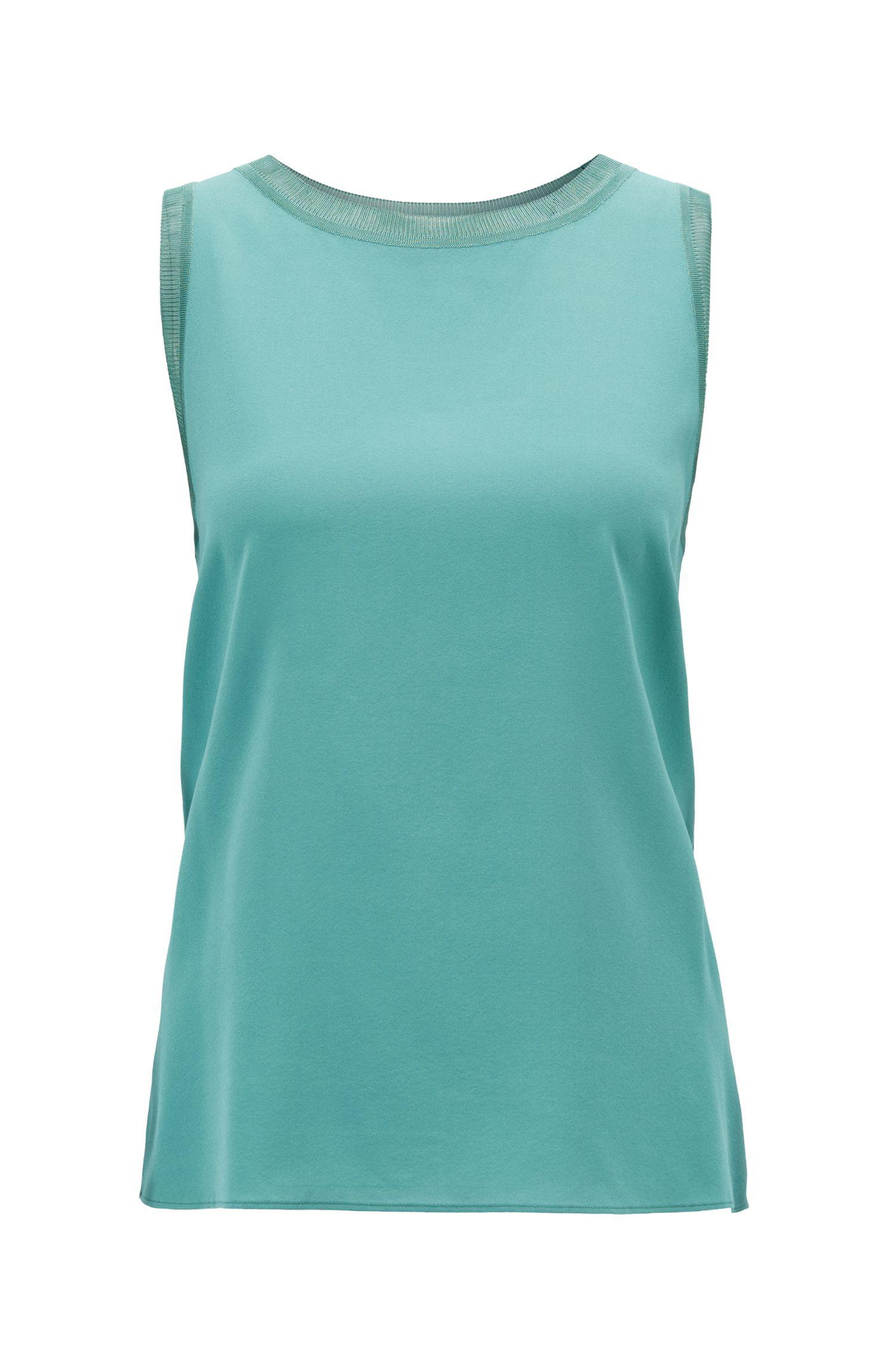 29e61723 BOSS Sleeveless Top In Stretch Silk With Knitted Details in Green - Lyst