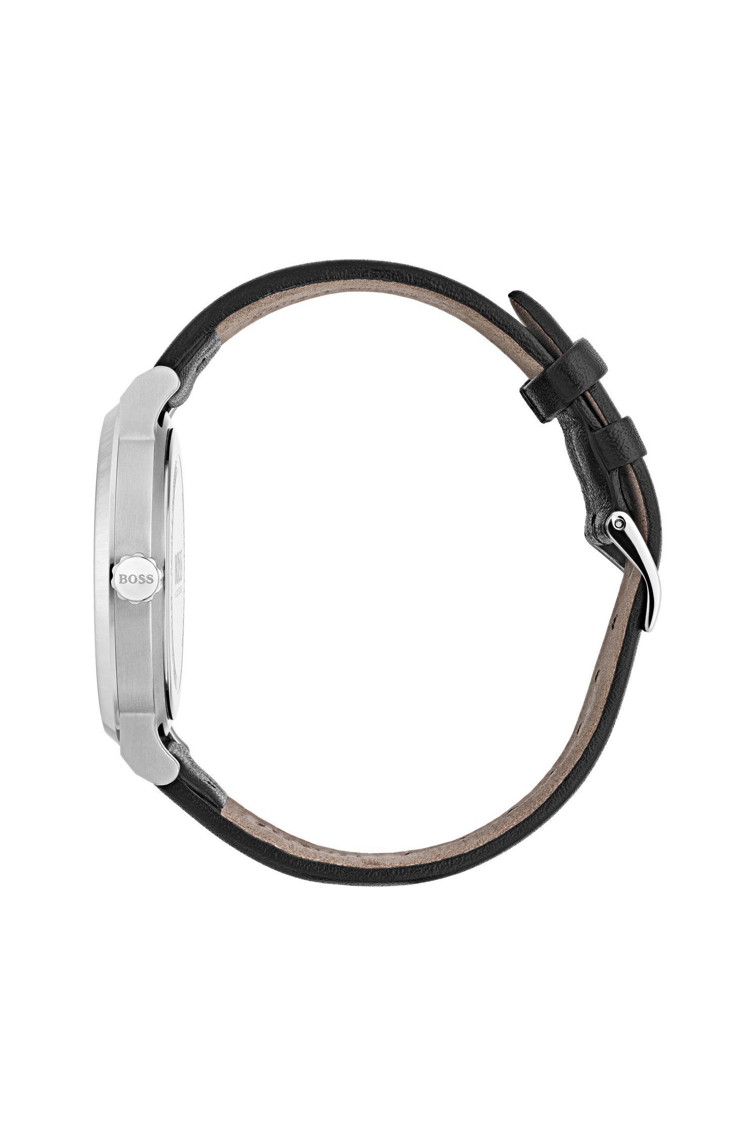 9533b0a4f5d80d BOSS Minimalist Stainless-steel Watch With Matt Black Dial And ...