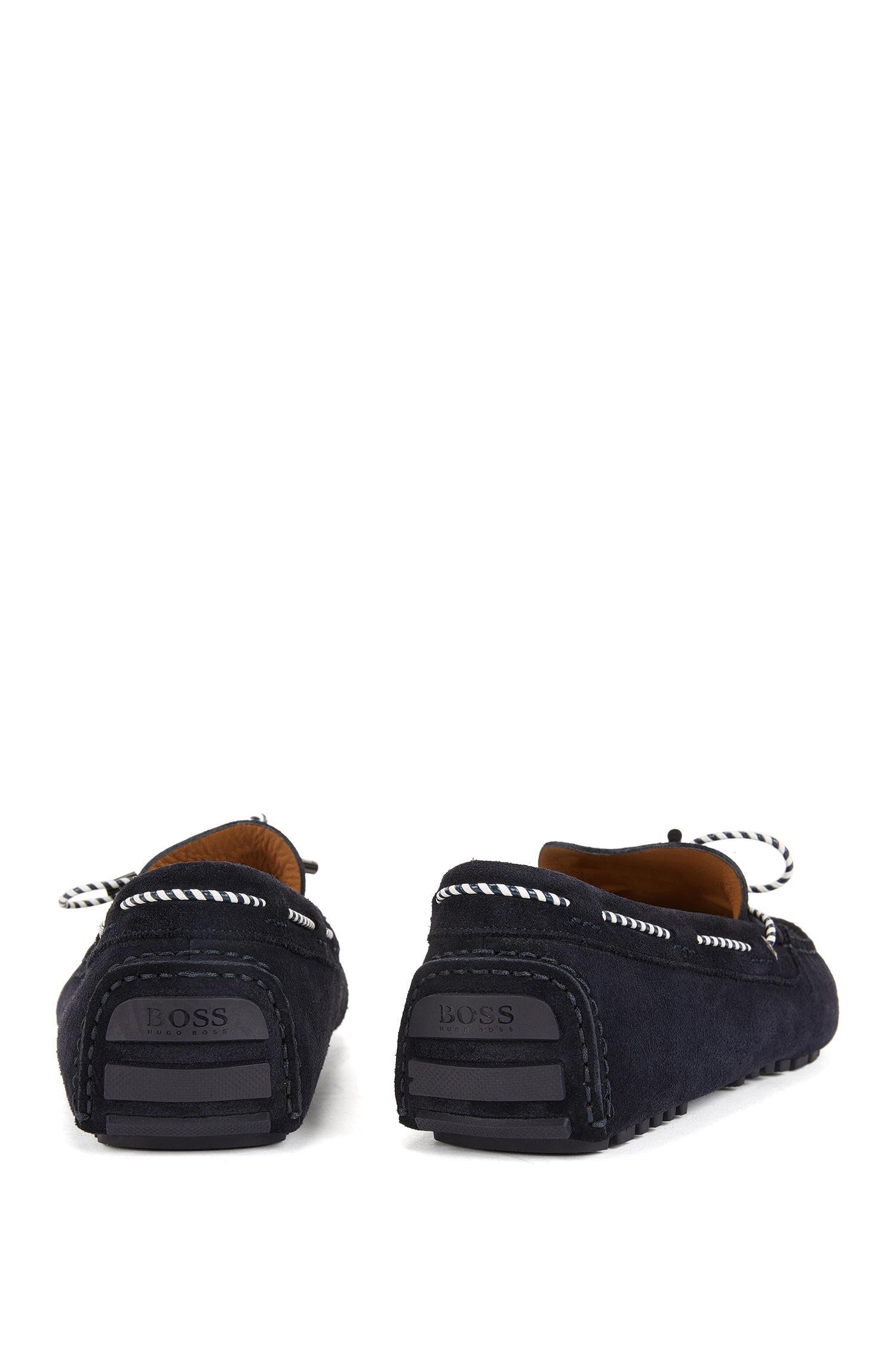 Moccasins in suede with woven lace BOSS XpI8hvz