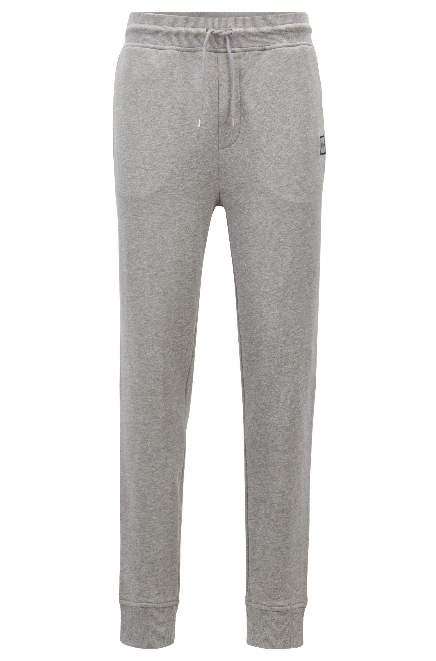 3caa67aaa BOSS Cuffed jogging Bottoms In French Terry With Woven Logo in Gray ...