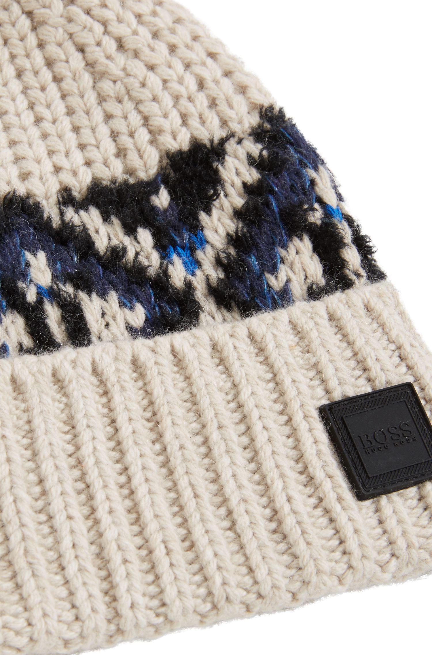Lyst - Boss Fair Isle Beanie Hat In A Textured Yarn Blend in Natural ...
