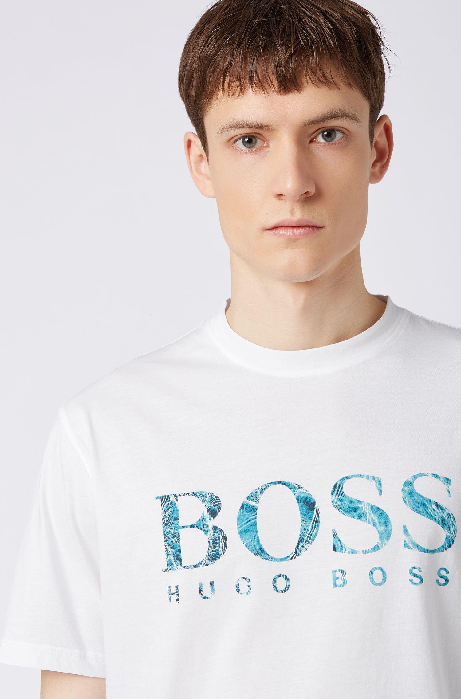 c8bc3aa65 BOSS - White Relaxed-fit Jersey T-shirt With Screen-printed Logo for. View  fullscreen