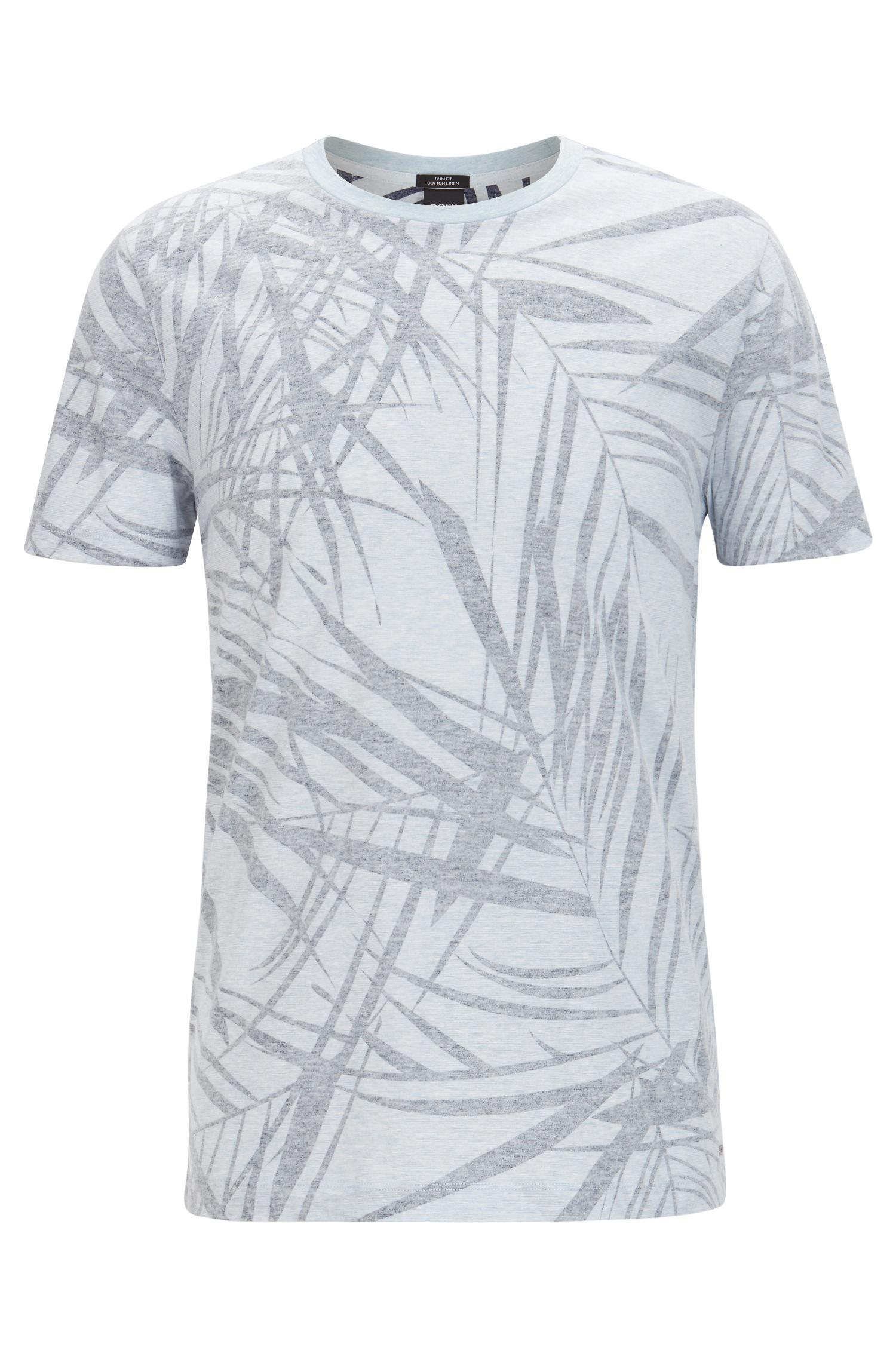 8058895a Lyst - BOSS Leaf-print Cotton Linen T-shirt | Tessler in Blue for Men