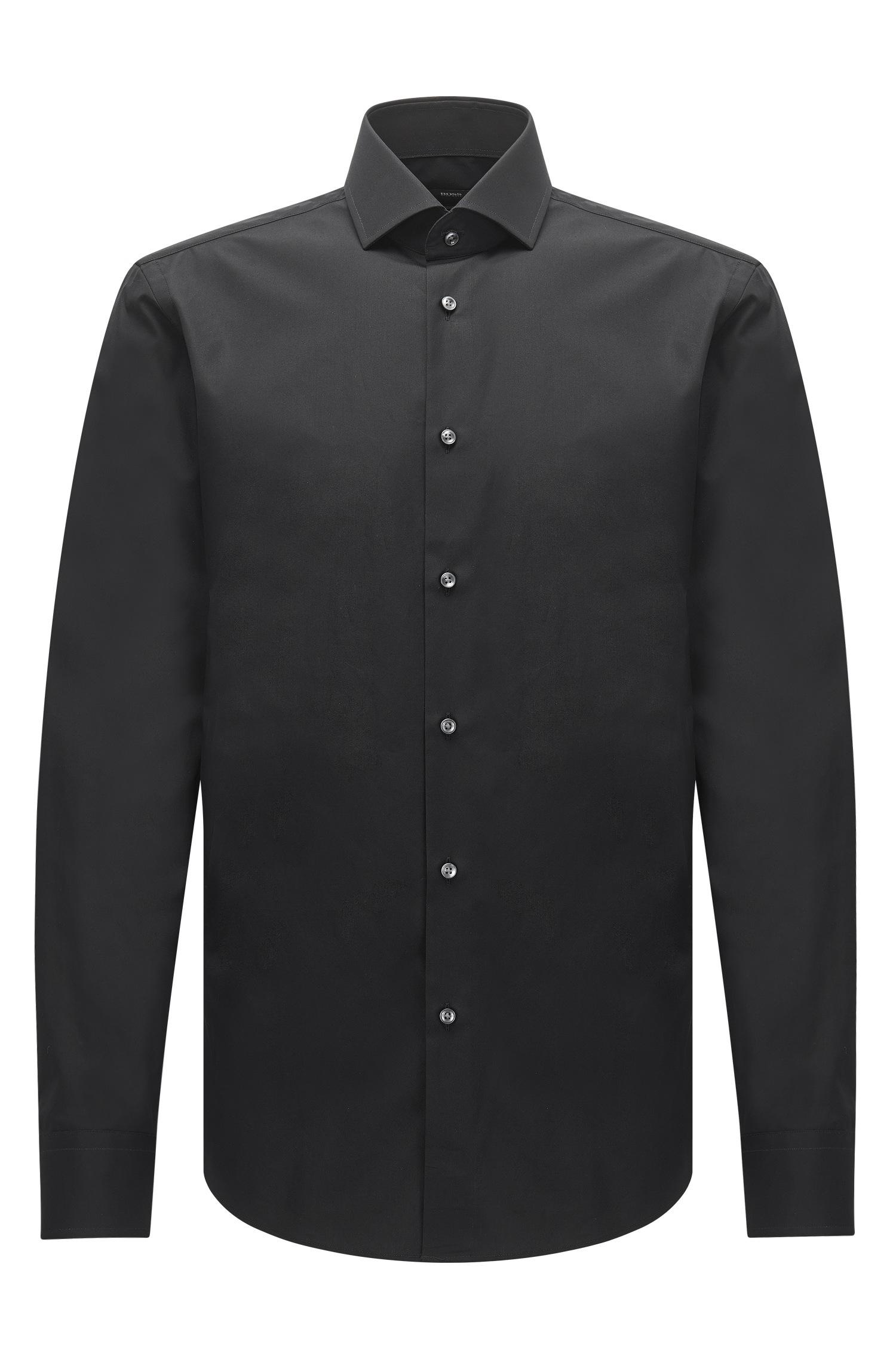 Boss regular fit shirt in italian two ply cotton in black for 2 ply cotton dress shirt