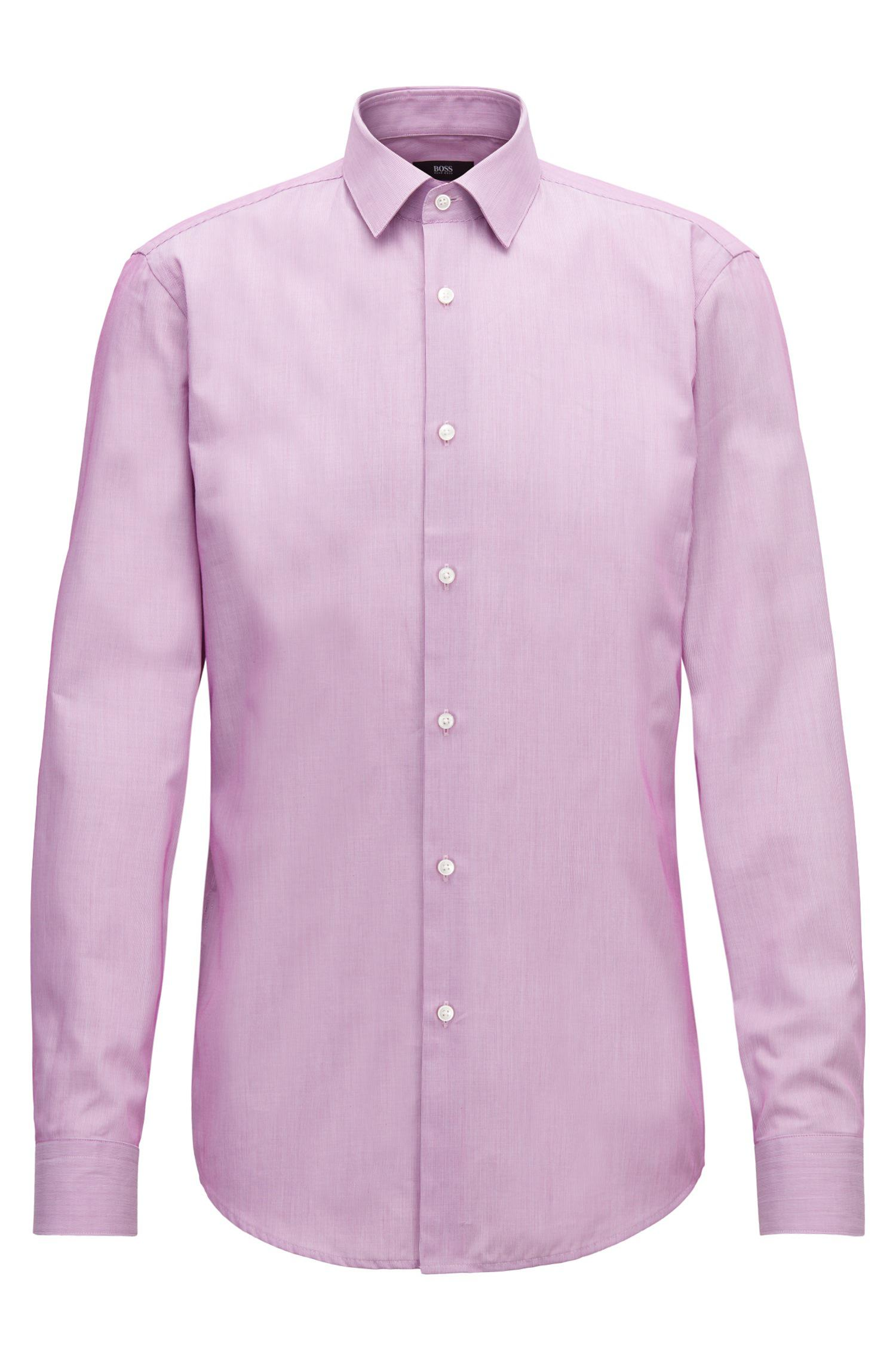 b61f7ab6 BOSS - Pink Slim-fit Shirt In Striped Dobby Cotton for Men - Lyst. View  fullscreen