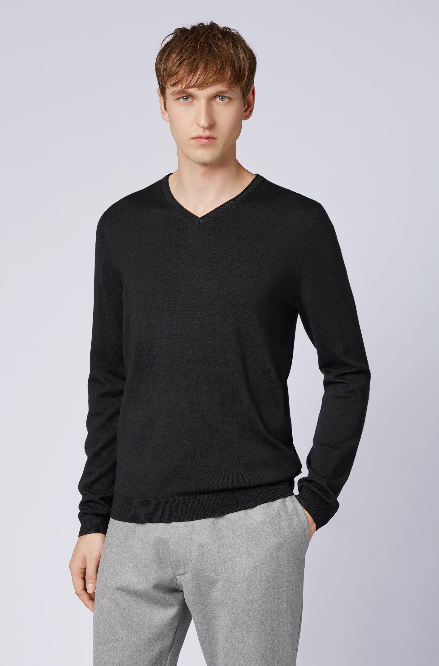 5fd799e07 BOSS Slim-fit V-neck Sweater In Fine-knit Merino Wool in Black for ...