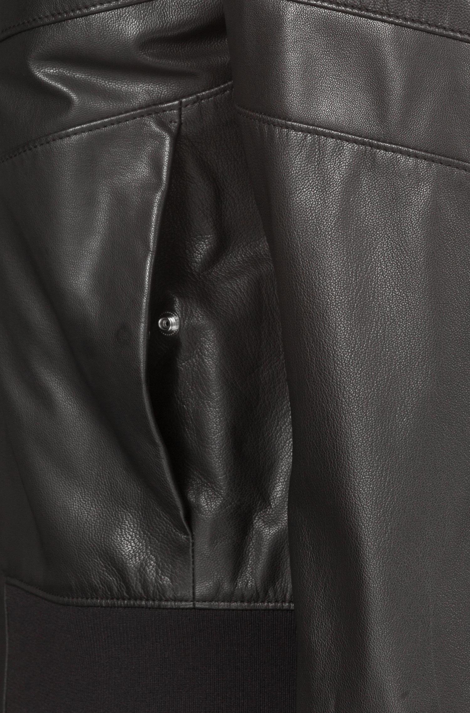 3514a1c5f86a HUGO - Black Regular-fit Bomber Jacket In Nappa Leather for Men - Lyst.  View fullscreen