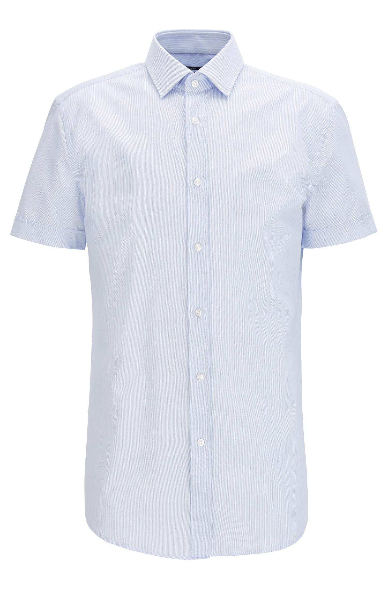 BOSS. Men's Blue Slim-fit Striped Cotton Shirt With Short Sleeves