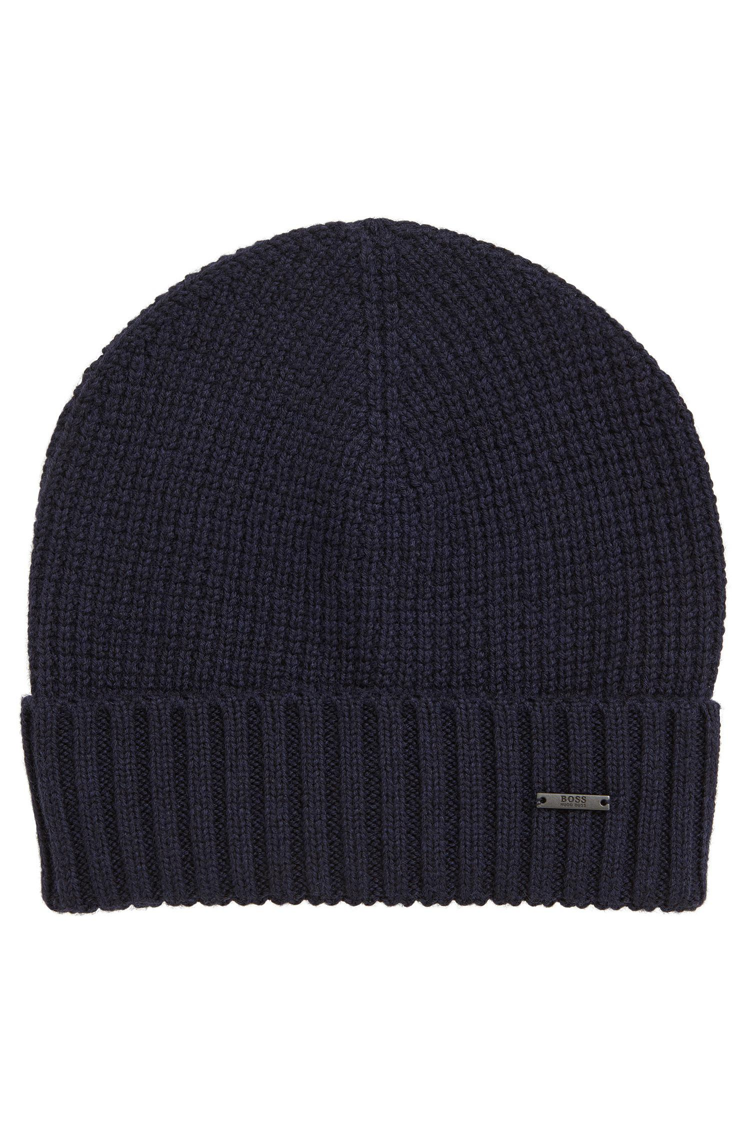 BOSS Waffle-knit Beanie Hat In Virgin Wool in Blue for Men - Lyst 4a152dda56b