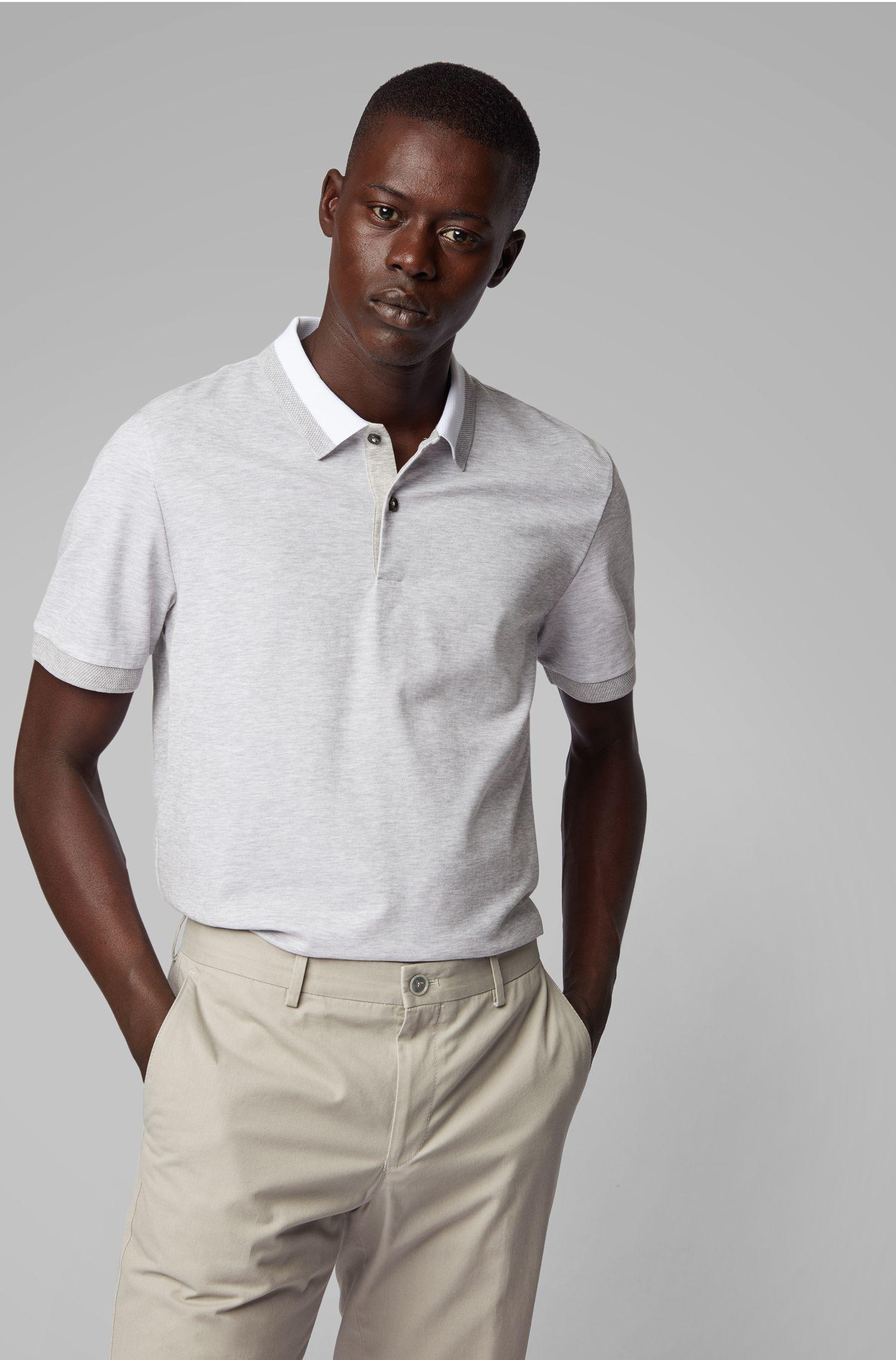 4fb6a91d BOSS Slim-fit Polo Shirt In Two-tone Honeycomb Cotton in Gray for ...