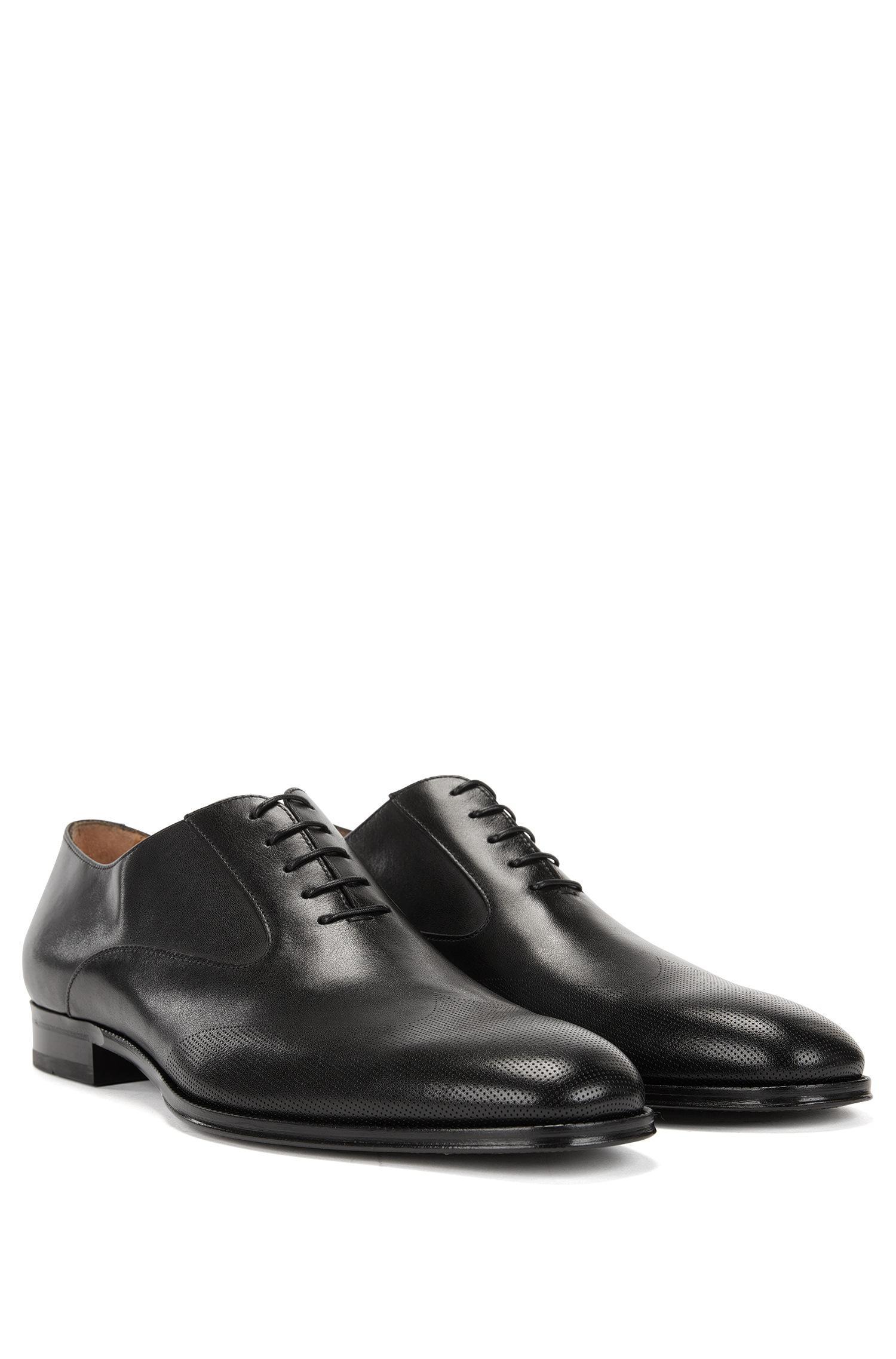 Italian-made loafers in burnished calf leather BOSS CWtWJEU9sI