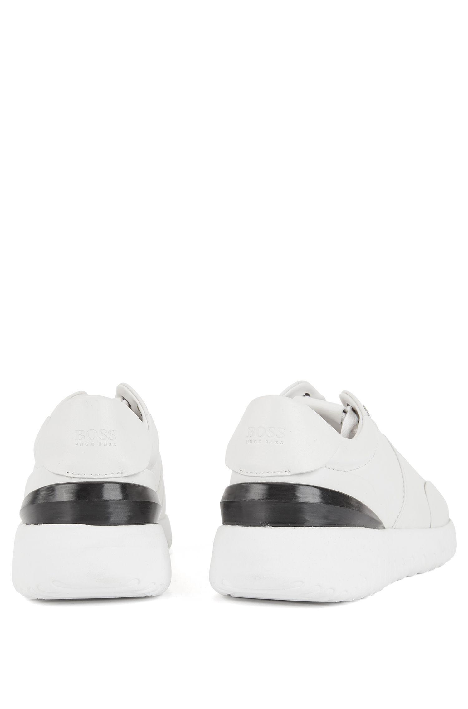 5dd13553a37 BOSS - White Leather Trainers With Pumped-up Outsole - Lyst. View fullscreen