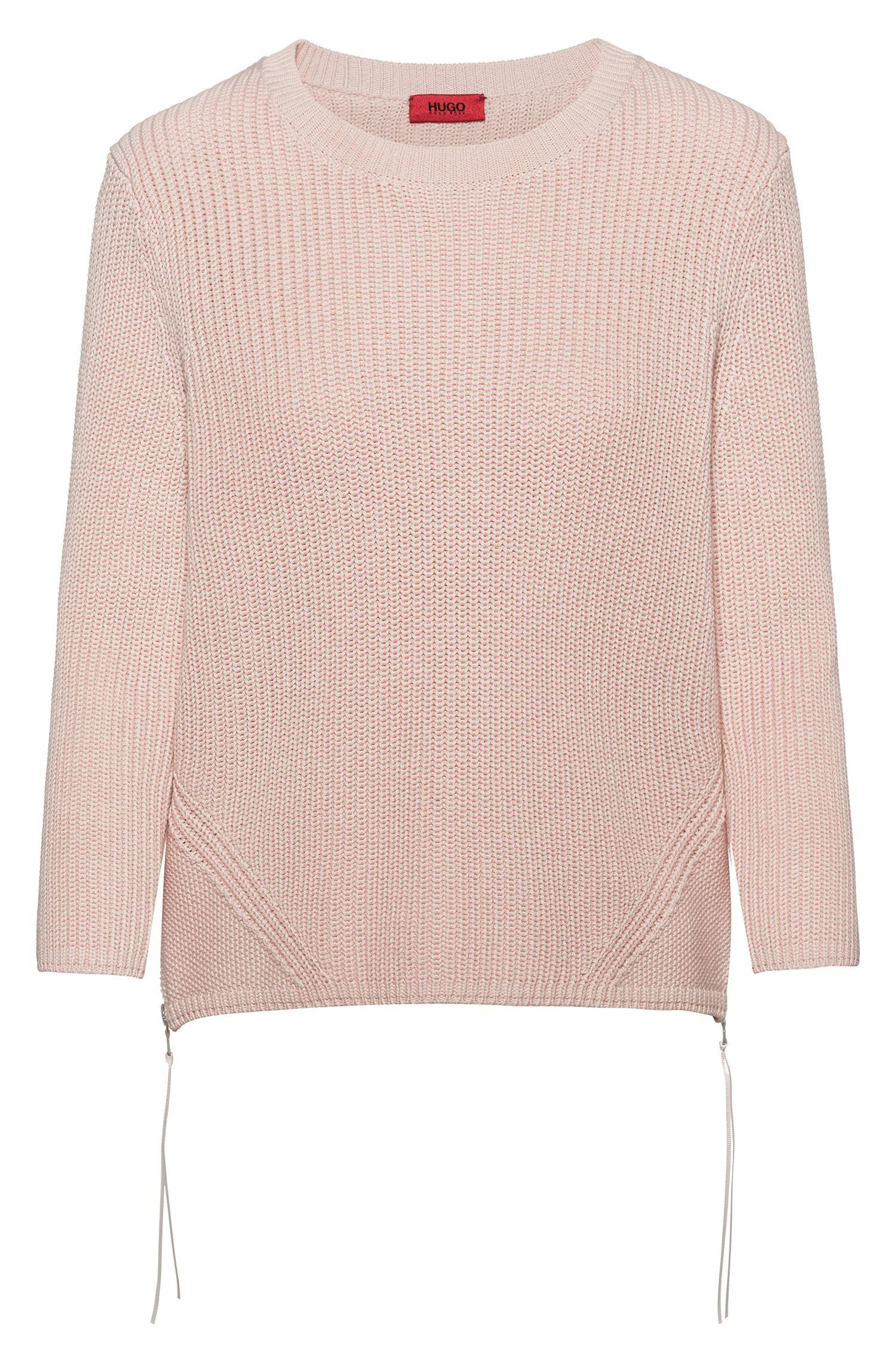 Side Cotton With Sweater Lyst Pure Pink Zipped Hugo In Seams Ribbed y6b7gf