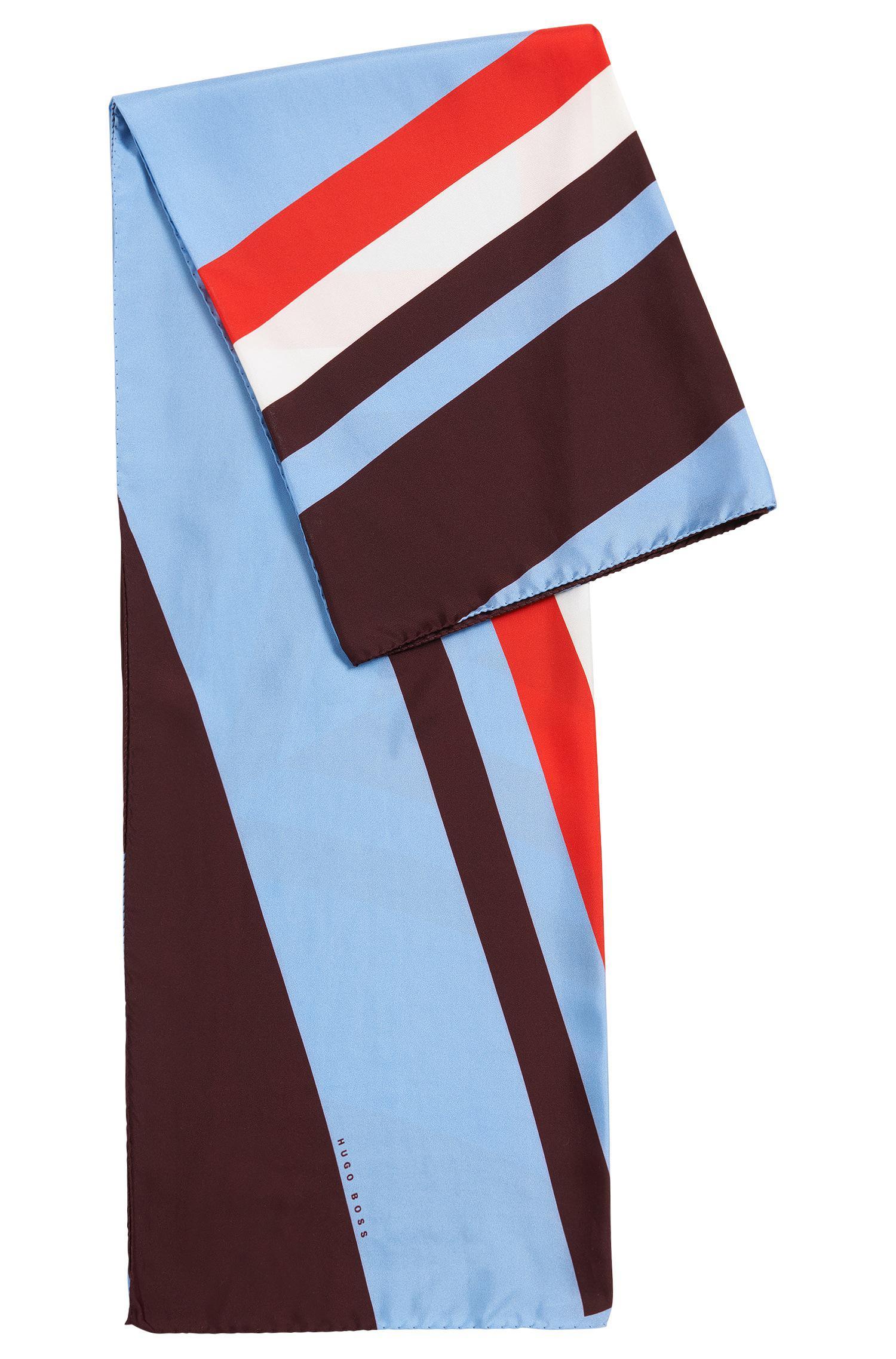 Leaf-print silk scarf with contrast border BOSS r4vdM648