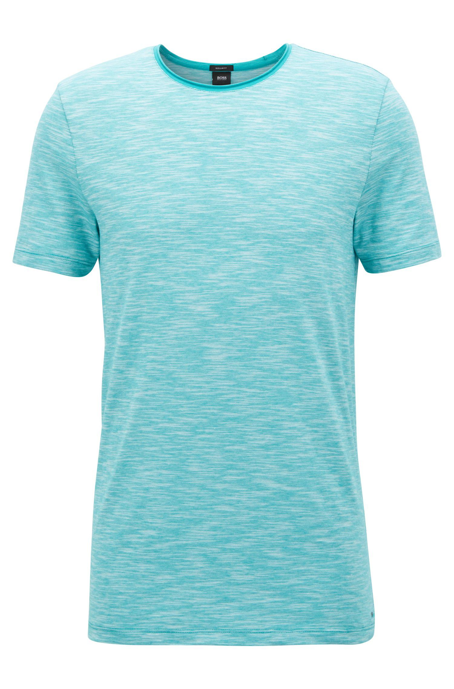 743cb0d3a Lyst - BOSS Mouliné T-shirt With Raw-cut Crew Neckline in Green for Men
