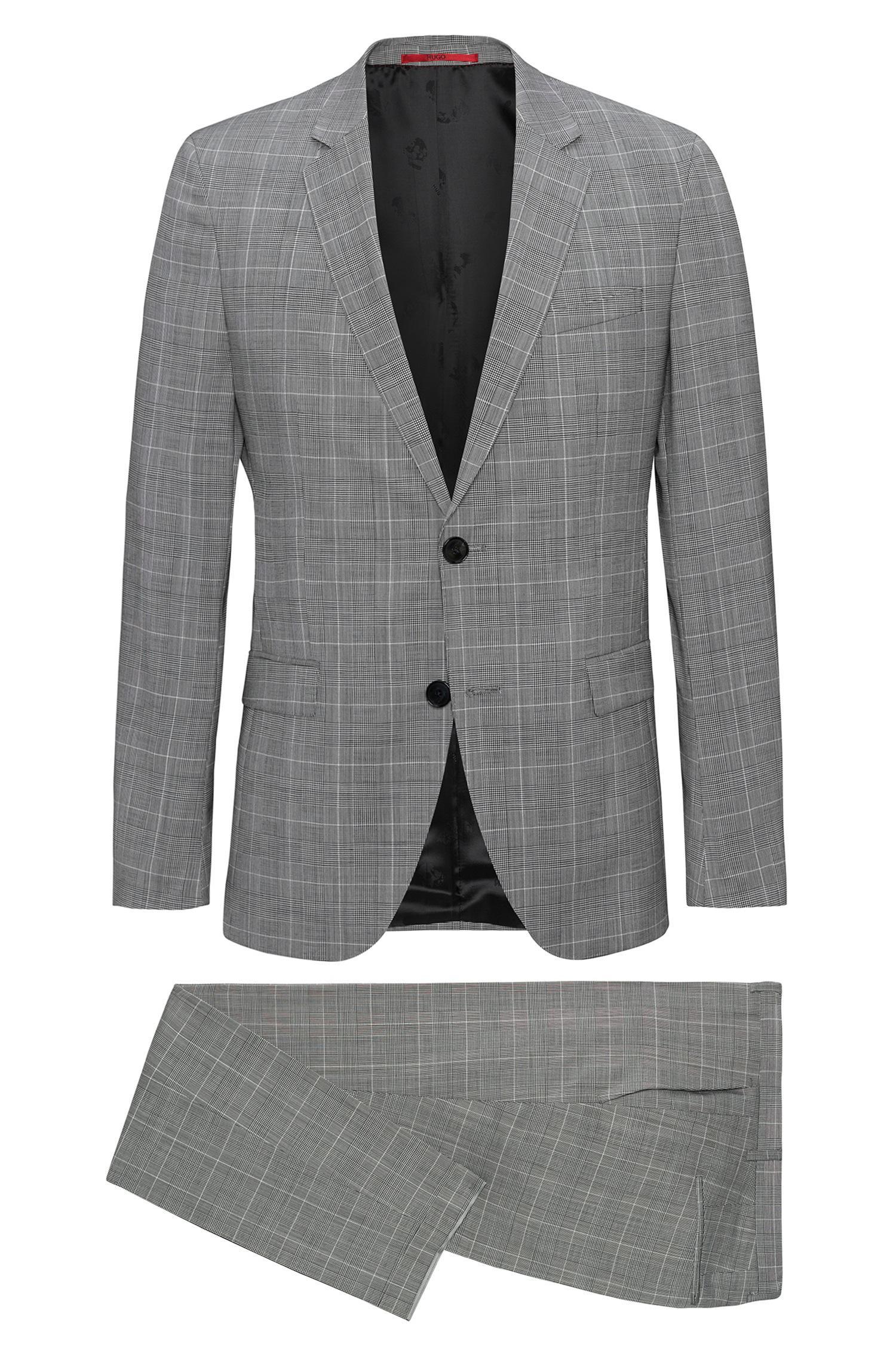 Hugo extra slim fit suit in glen check virgin wool in for Extra slim tuxedo shirt