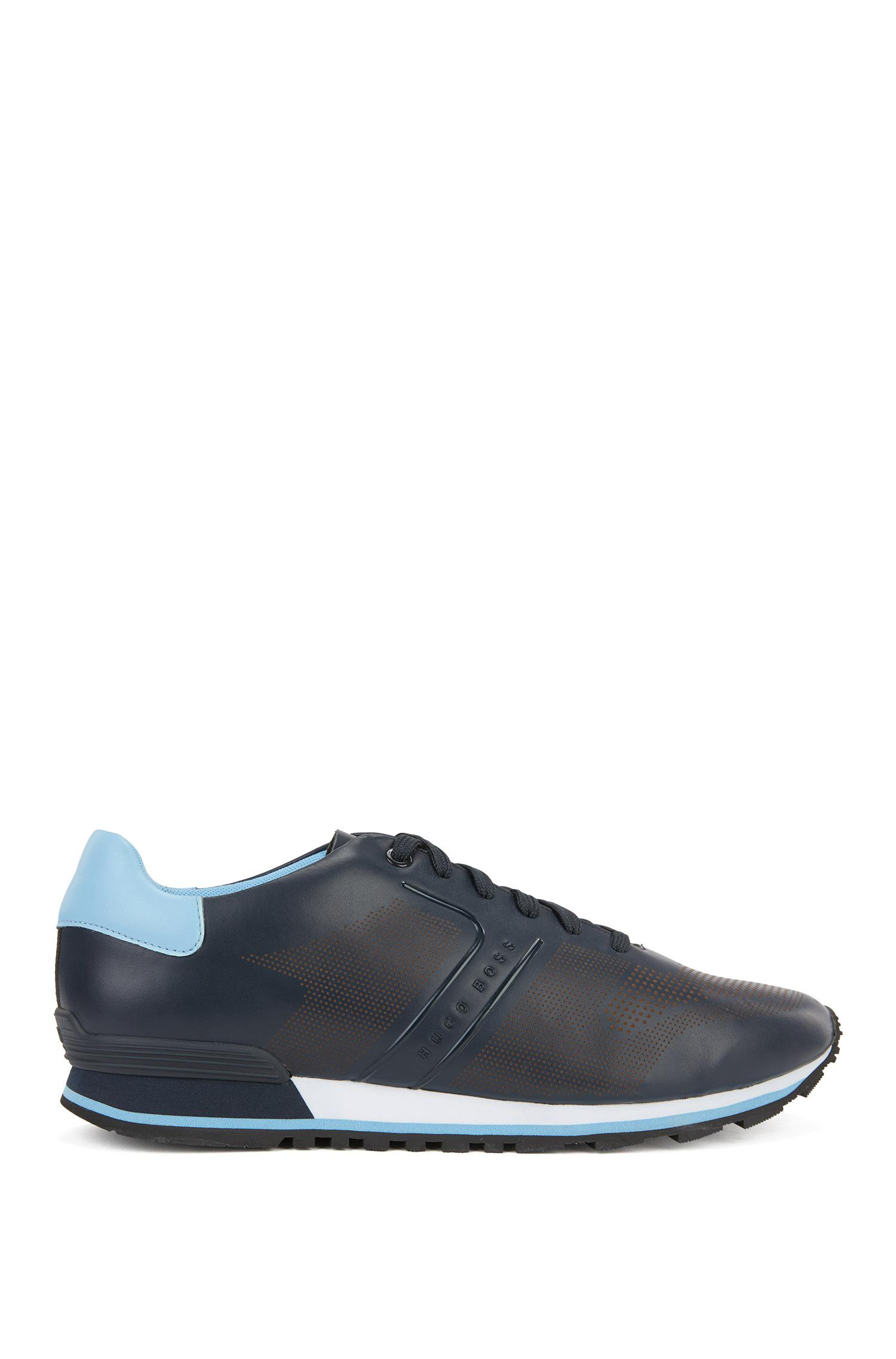 Leather running trainers with laser-cut detailing BOSS sxeMUw