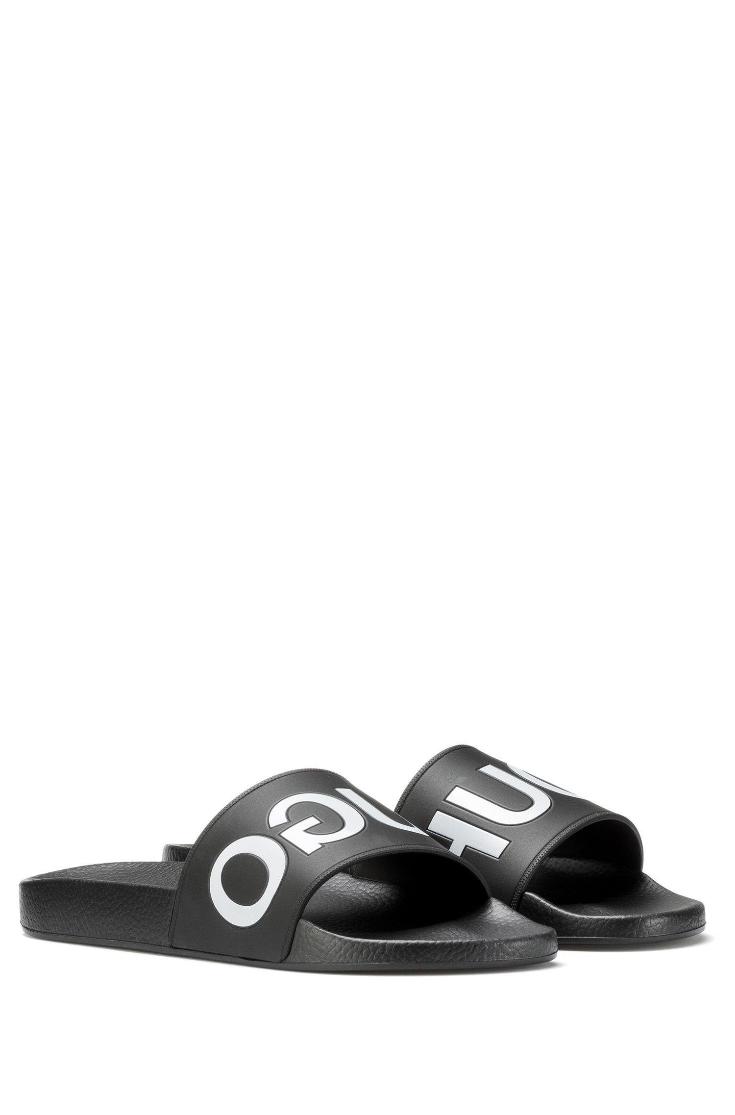 f36ba88c71a HUGO - Black Reverse-logo Pool Sliders for Men - Lyst. View fullscreen
