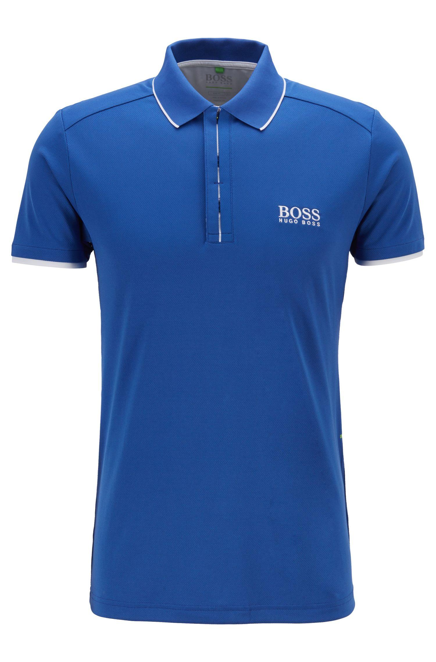 3dc8e62be1b Boss Slim Fit Polo Shirt In Waffle Piqué With S Café Blue For. Hugo Boss  Kids ...