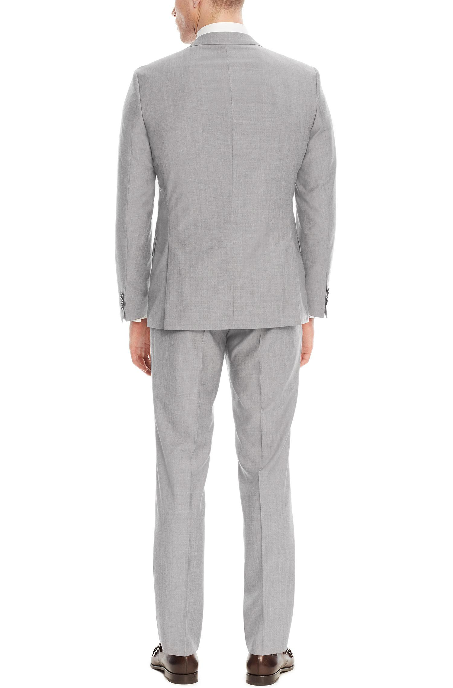 d197a5b33 BOSS - Gray Italian Super 110 Virgin Wool Suit, Slim Fit | Huge/genius.  View fullscreen