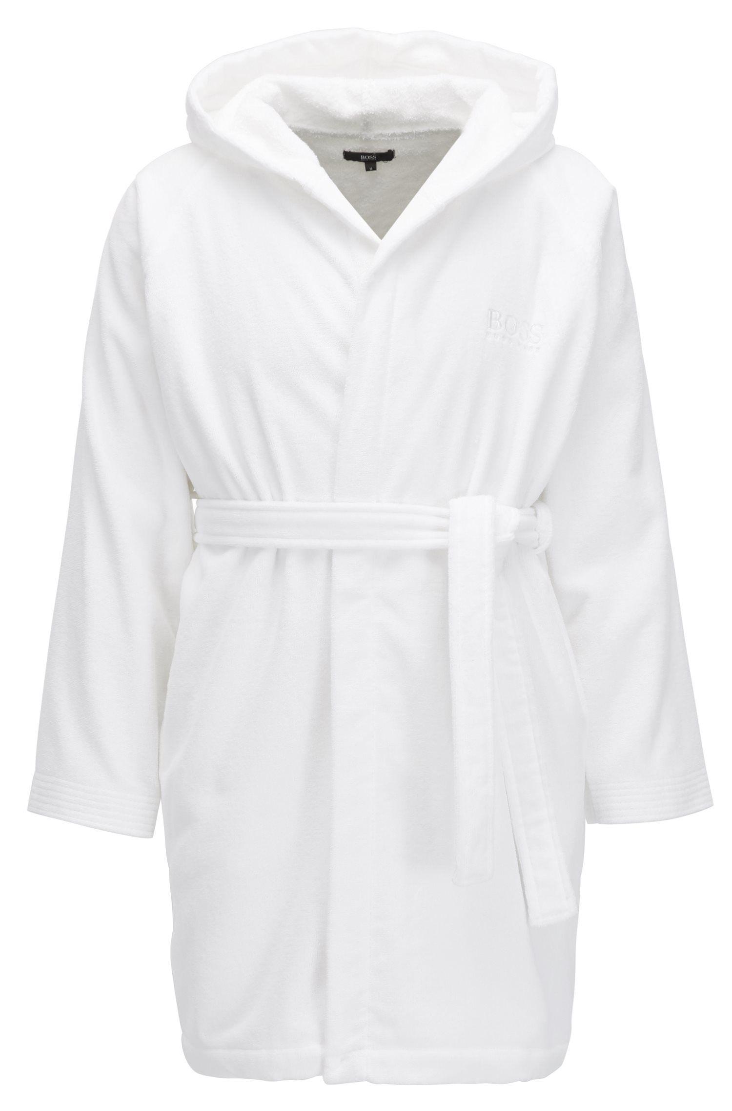 391b74f8b7 BOSS. Men s White Short Hooded Dressing Gown In Egyptian Cotton. £139 From HUGO  BOSS