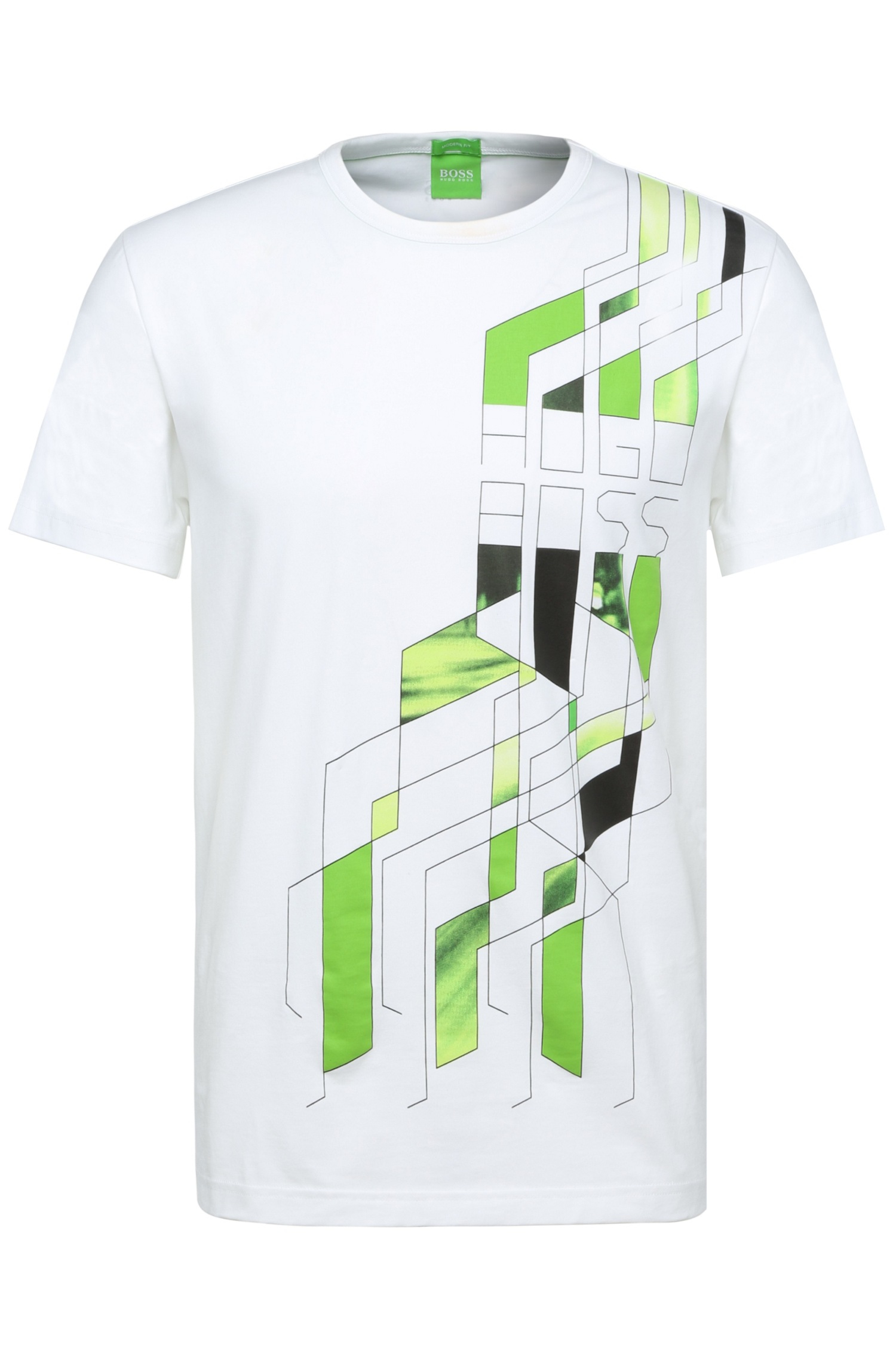 Boss green printed regular fit t shirt in stretch cotton for Sustainable t shirt printing