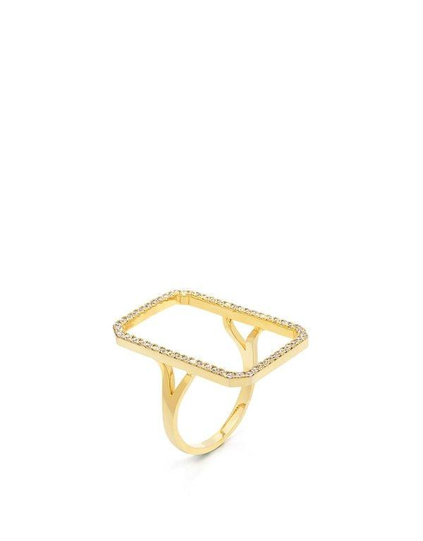 Fallon Pave Solitaire Silhouette Ring Gold/clear