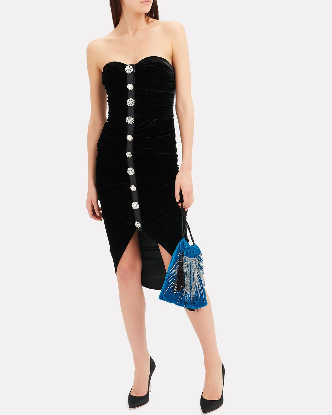 7e1557fafa9 Veronica Beard Palo Strapless Ruched Velvet Button-front Cocktail Dress in  Black - Save 12.93103448275862% - Lyst